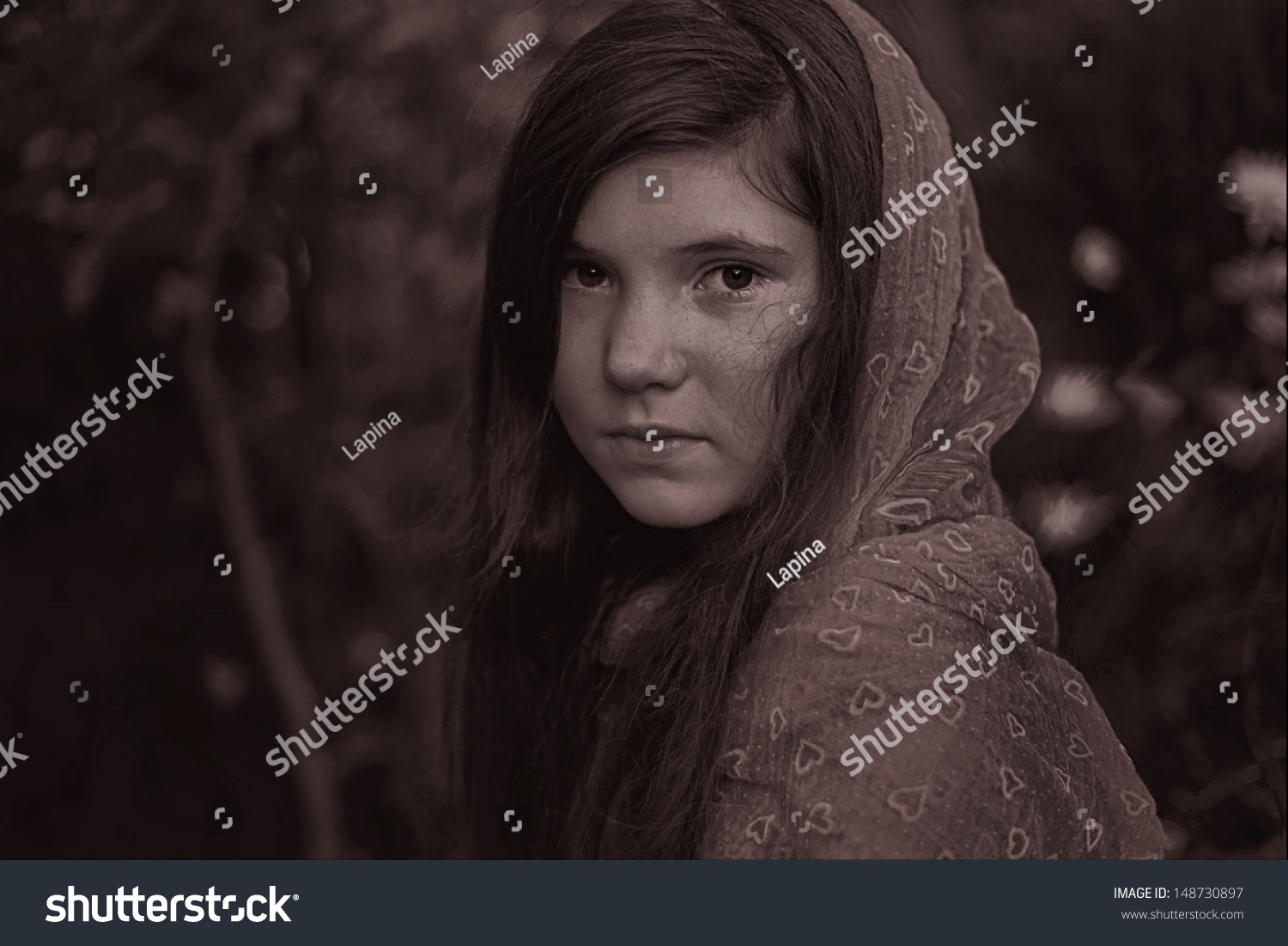 black preteen little preteen girl with red scarf and dark long hair black and white  dramatic portrait