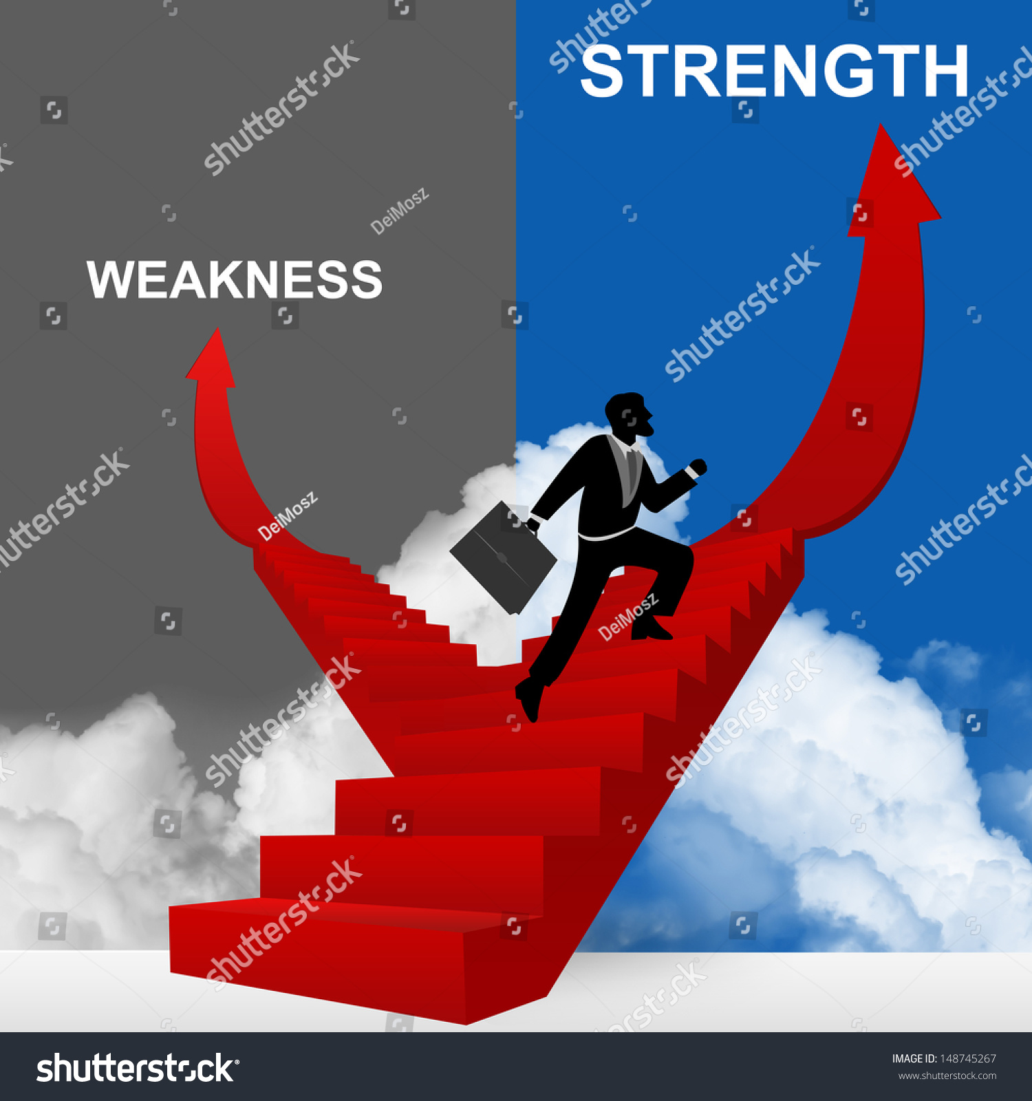 concept business solution present by strength stock illustration concept of business solution present by strength and weakness stairway the businessman step up to