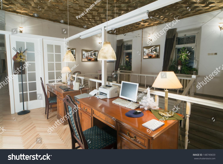 Small Room Two Desks Door Behind Stock Photo Edit Now 148749659