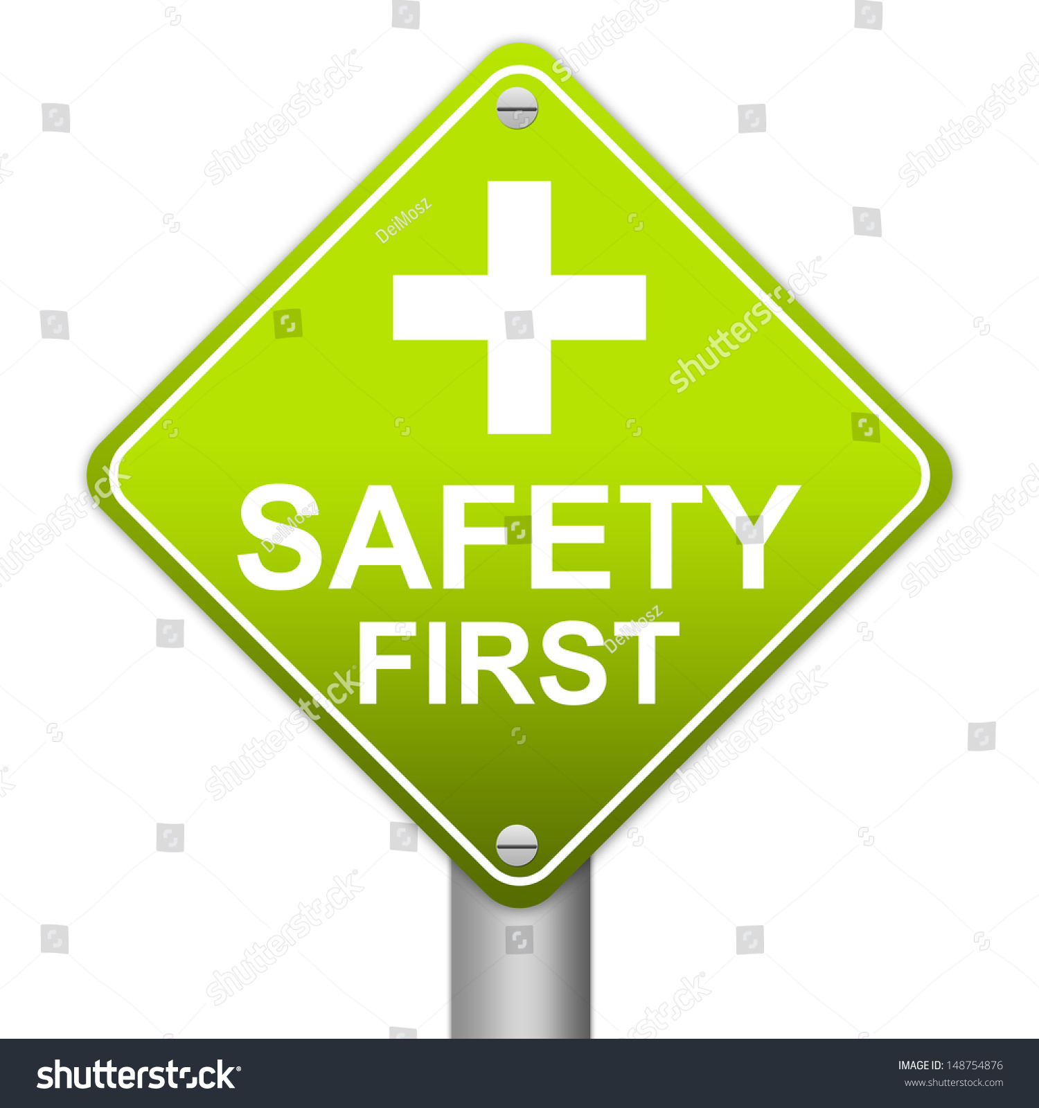 Royalty Free The Green Glossy Style Safety First 148754876 Stock
