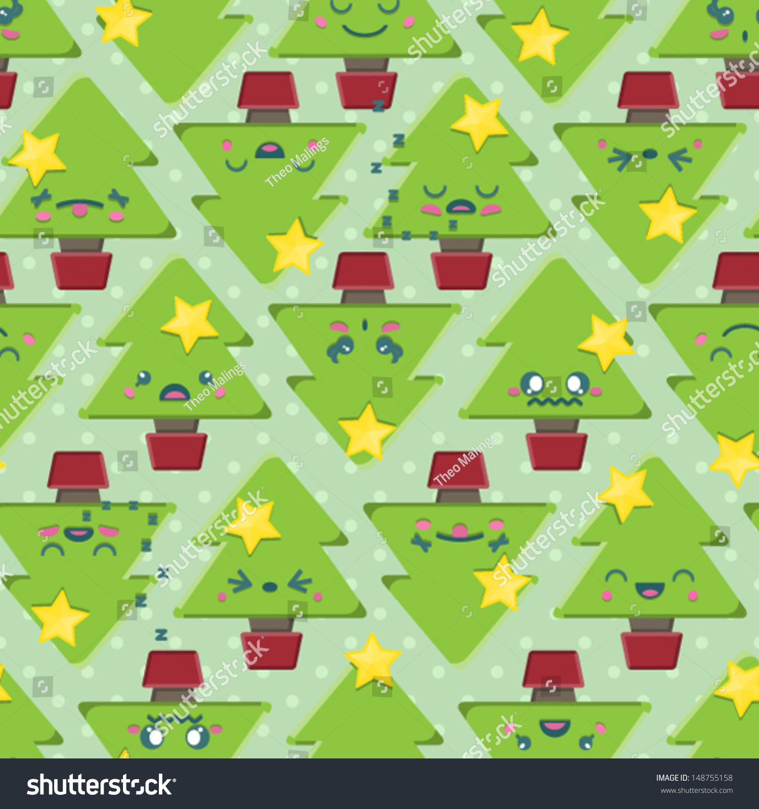 Seamless Background Tile Super Cute Kawaii Stock Vector (Royalty ...