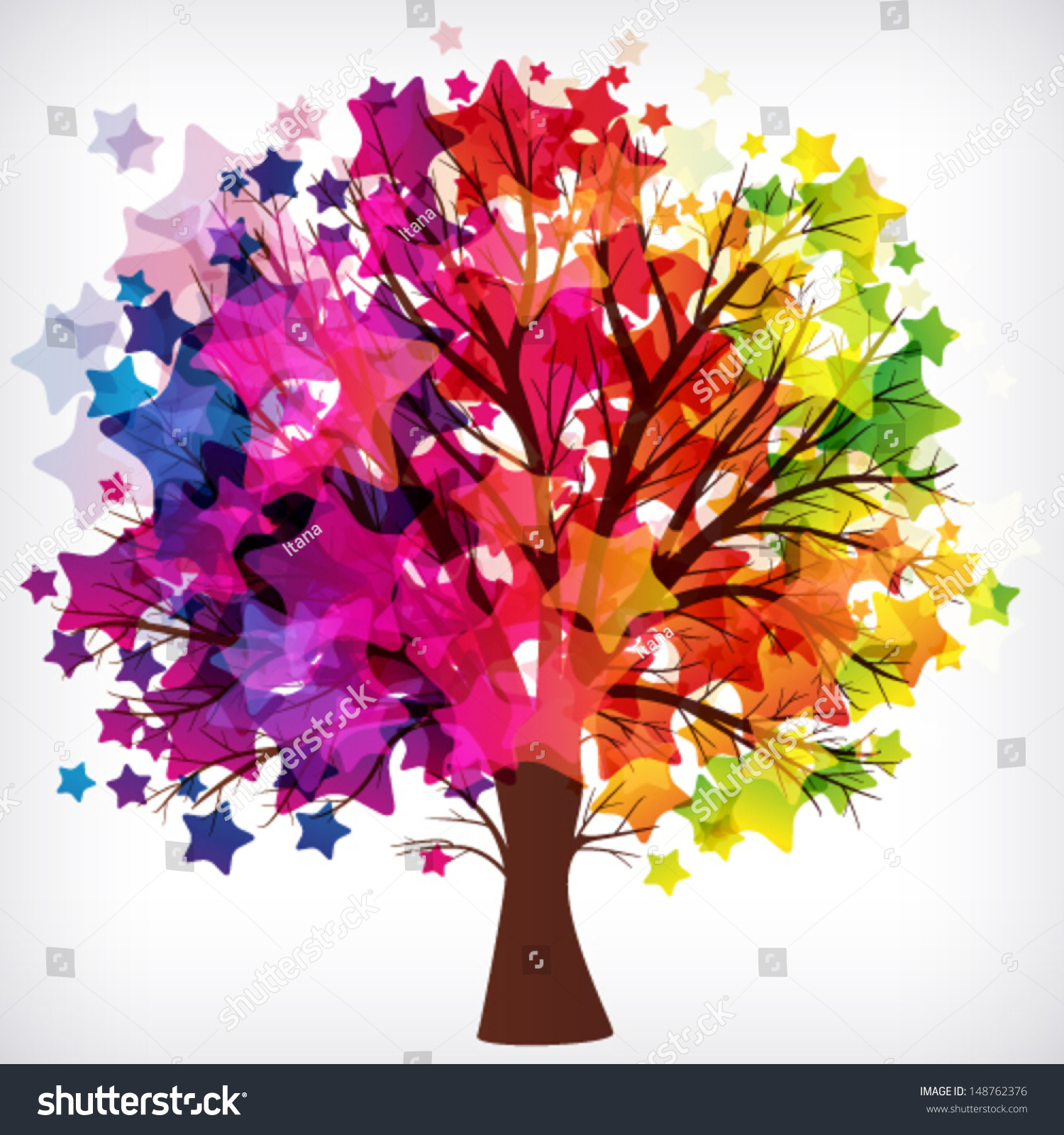 abstract background tree branches made colorful stock