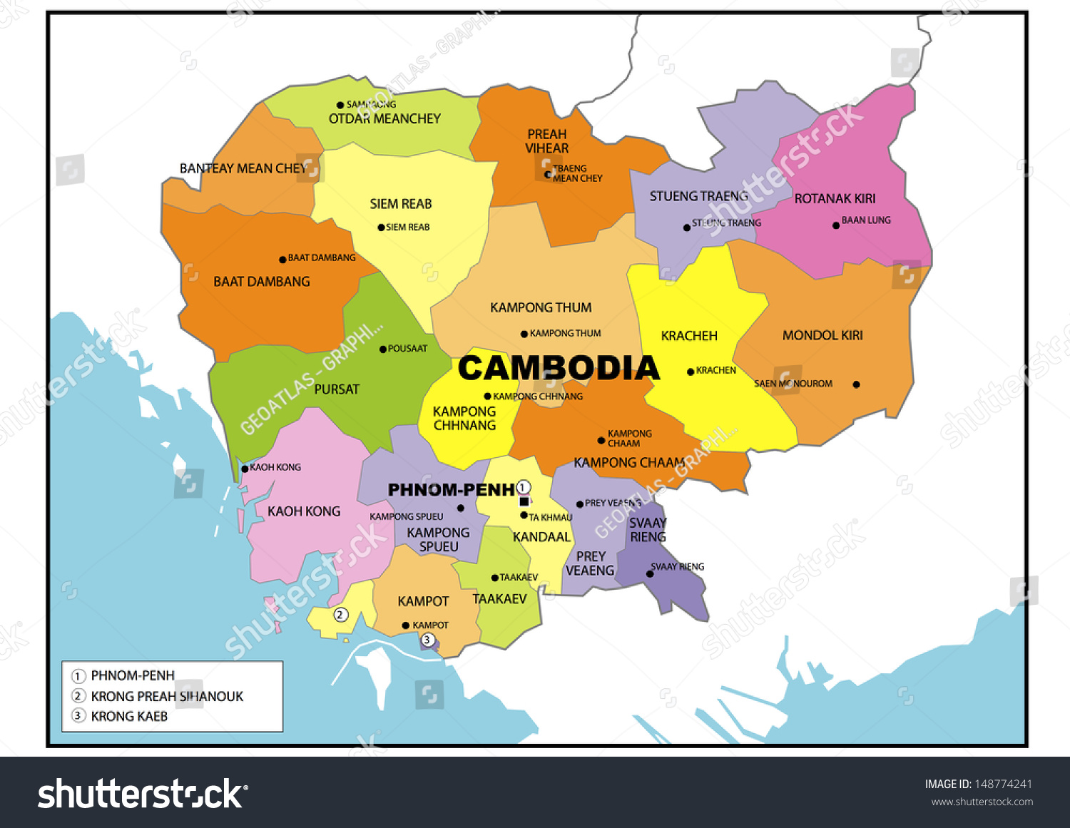 Political Map Cambodia Stock Illustration   Royalty Free Stock