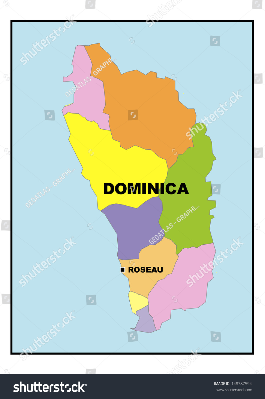 Map Dominica Stock Illustration 148787594 Shutterstock