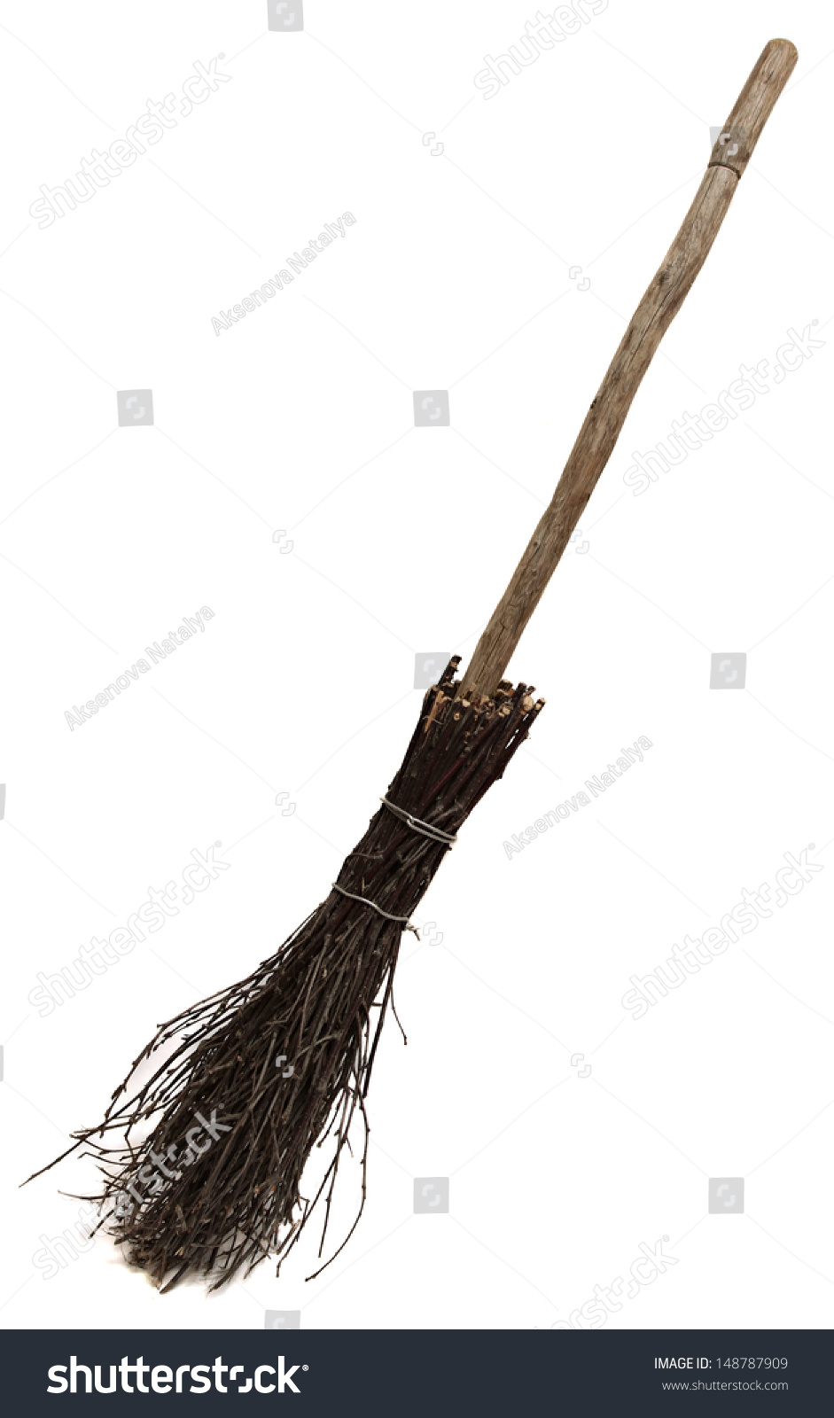 Old Wicked Broom Isolated On White Stock Photo 148787909