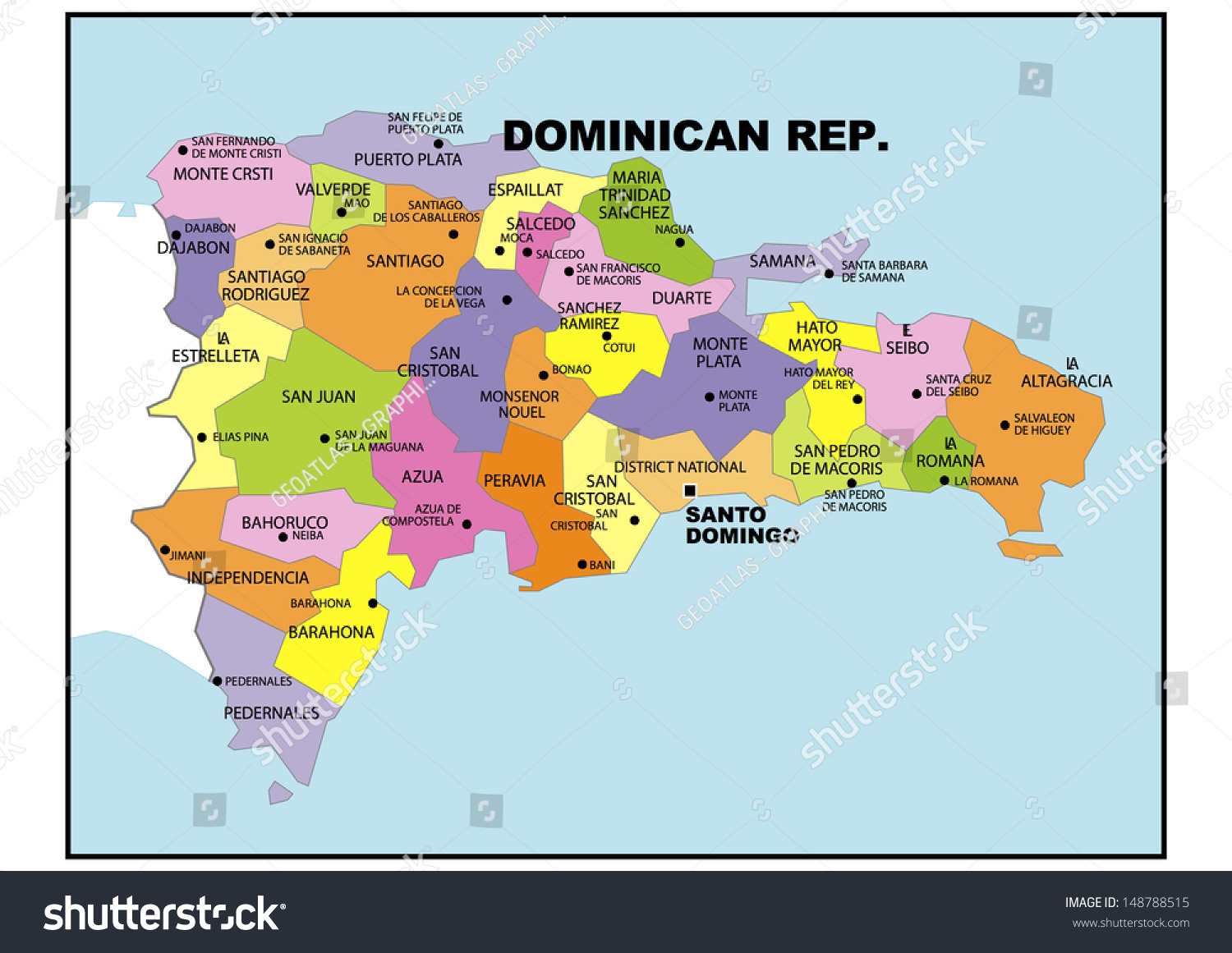 Political map of Dominican Republic Stock Photo 148788515 - Avopix.com