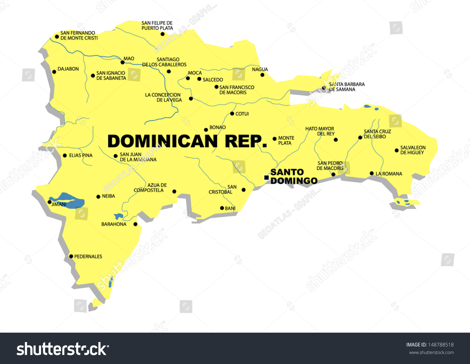 Simple Map Dominican Republic Stock Illustration 148788518 ...