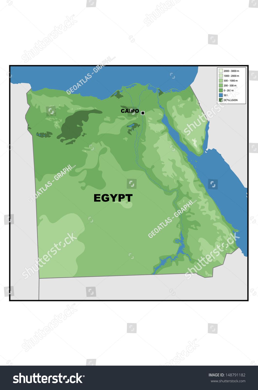 Physical Map Egypt Stock Illustration Shutterstock - Egypt physical map