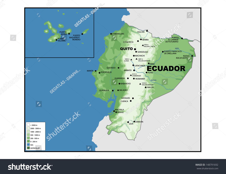 Physical Map Ecuador Stock Illustration Shutterstock - Physical map of ecuador
