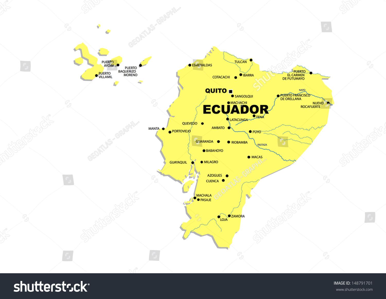 Simple Map Ecuador Stock Illustration Shutterstock - Physical map of ecuador