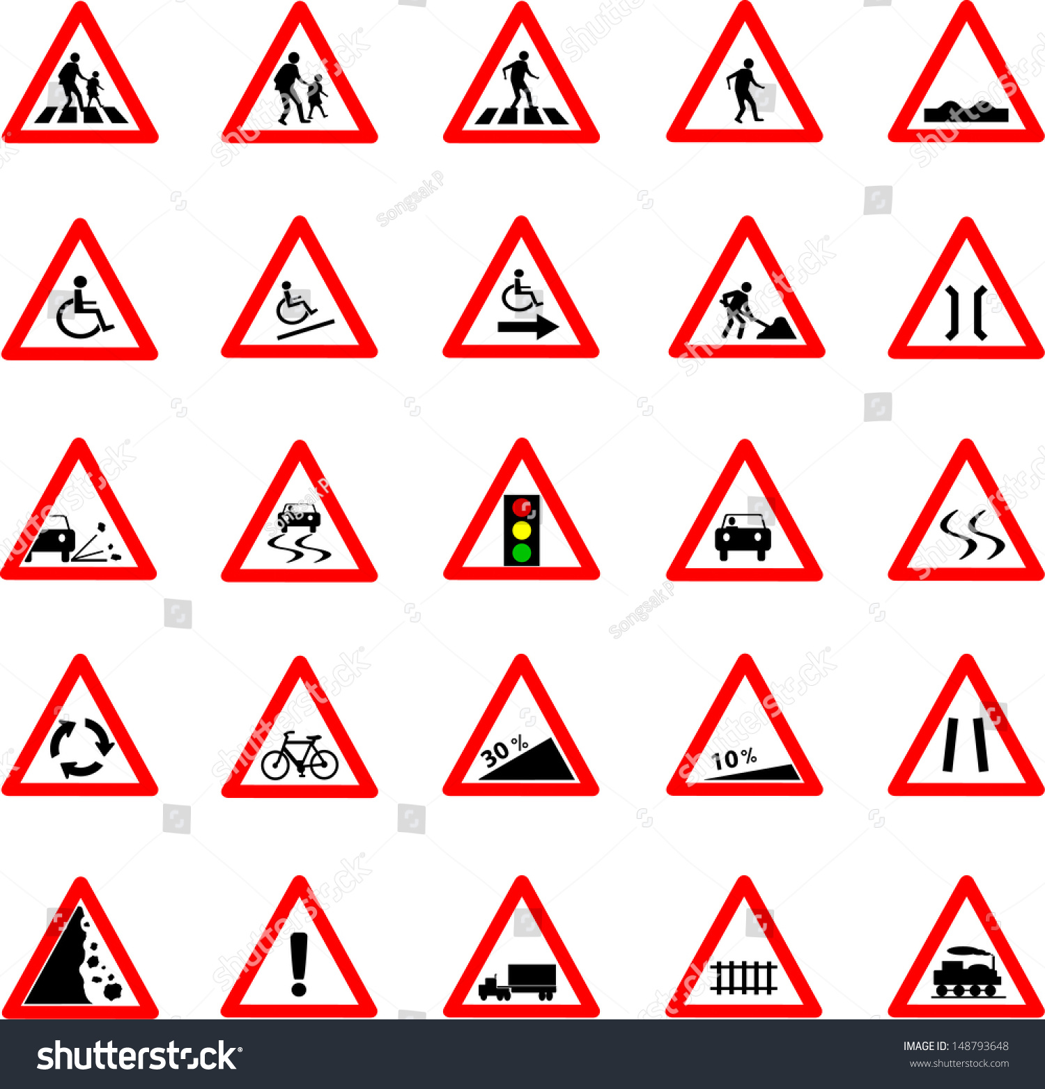 vector illustration triangle red white road stock vector