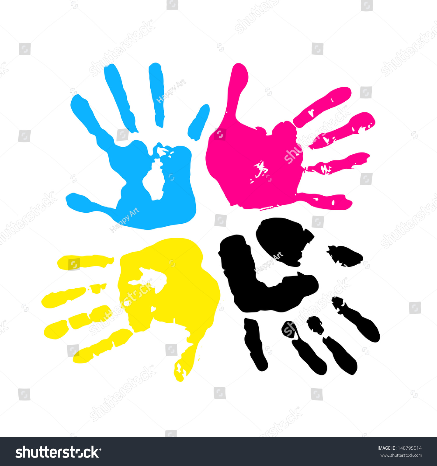 hand print four color ink printing stock vector 148795514