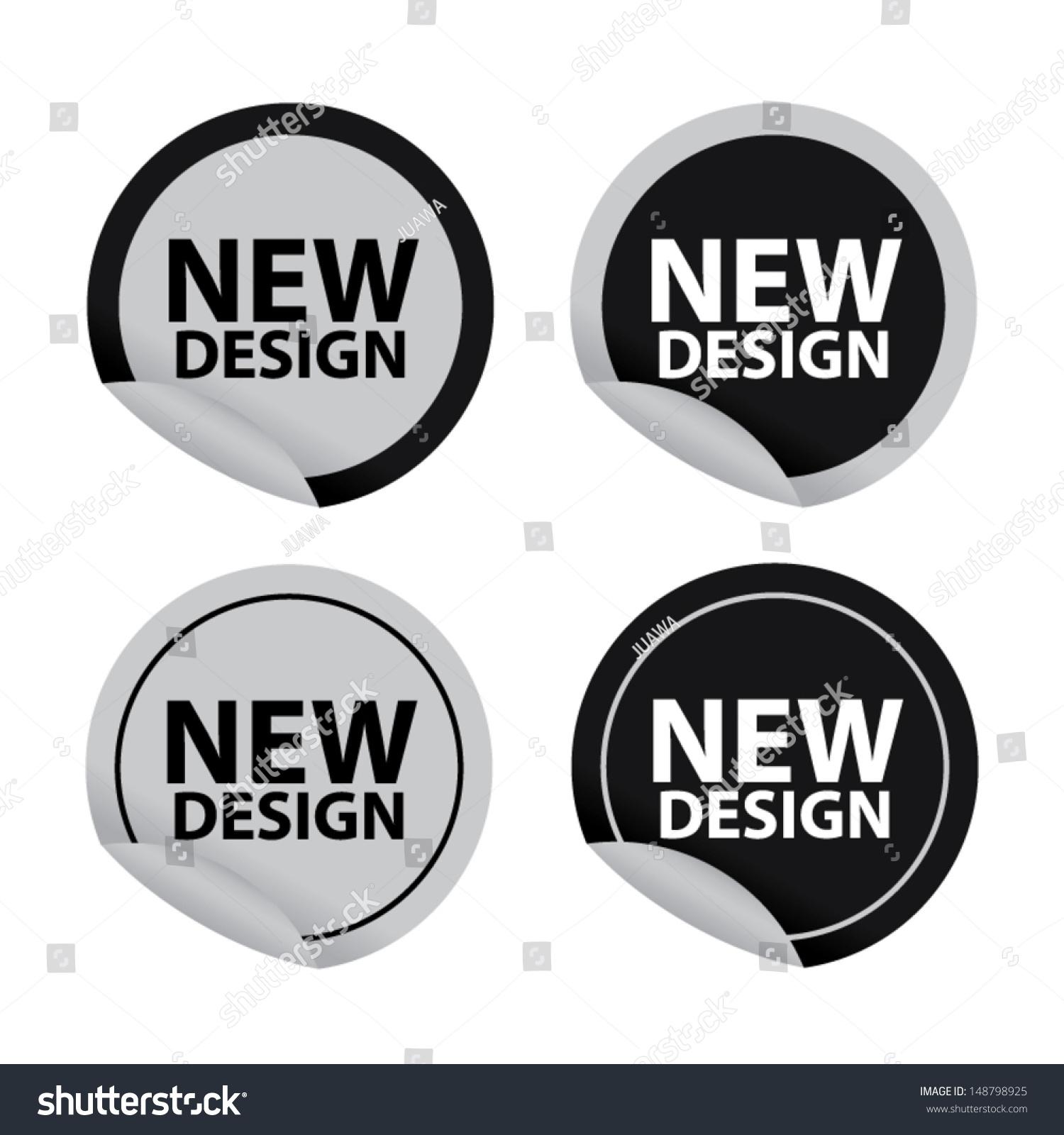 New design version stickers set