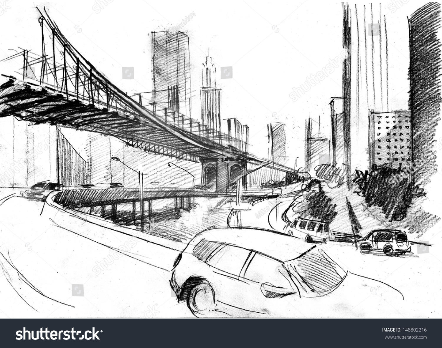 Pencil drawing of a landscape with set of skyscrapers cars and brooklyn bridge in new