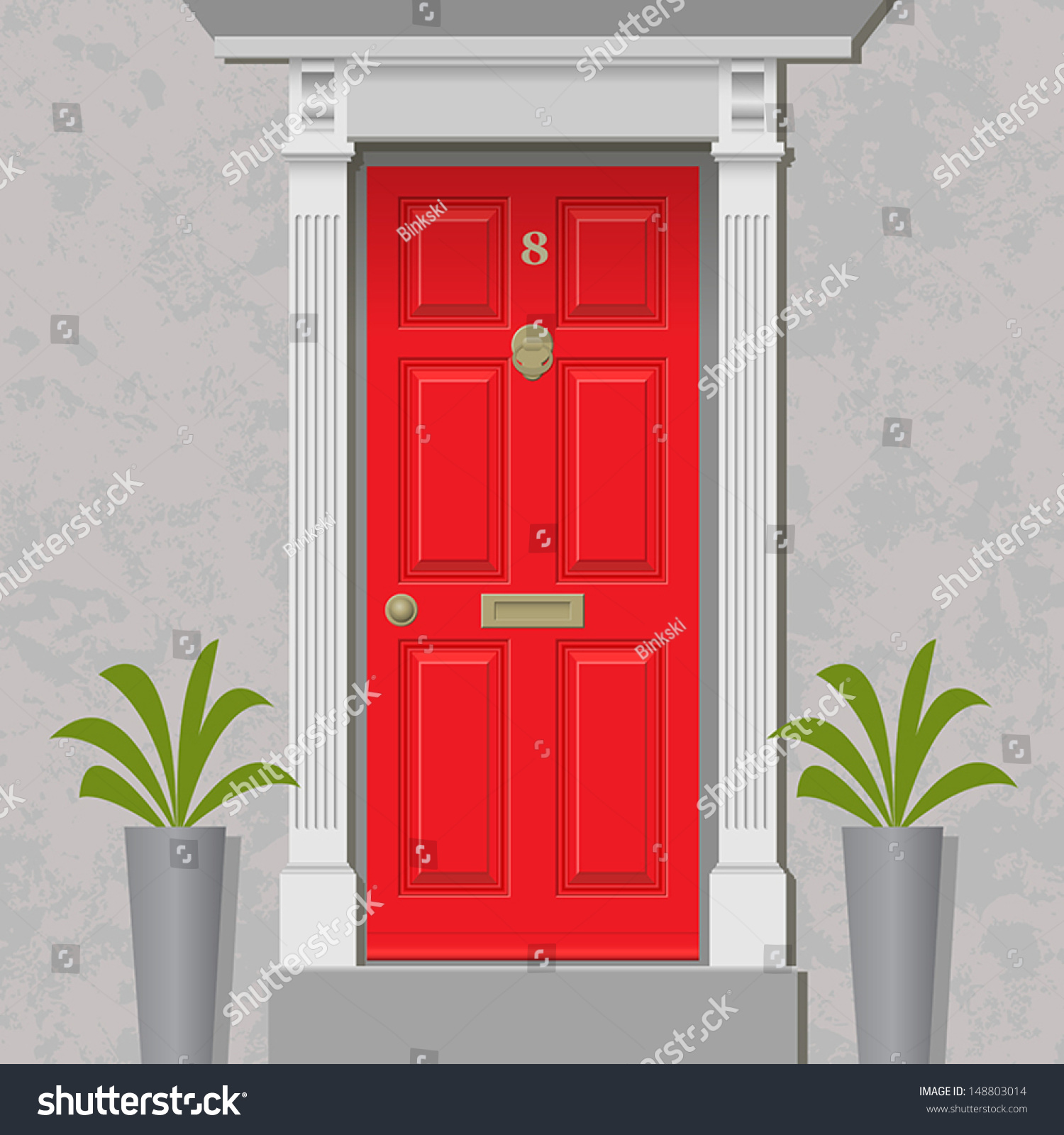 Cartoon classroom door - An Old Style Front Door Red With Brass