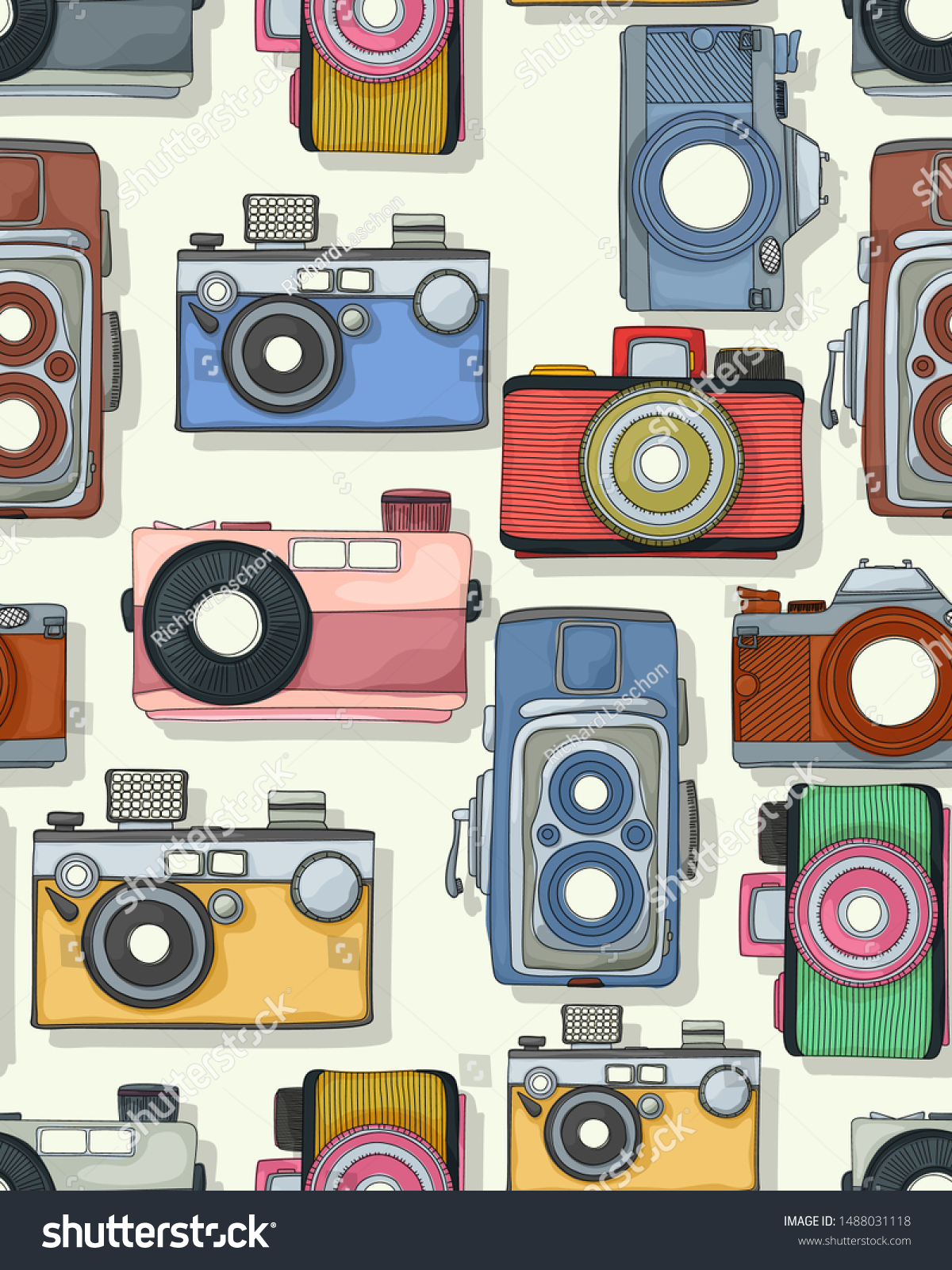 Retro style photograhic camera pattern in colors