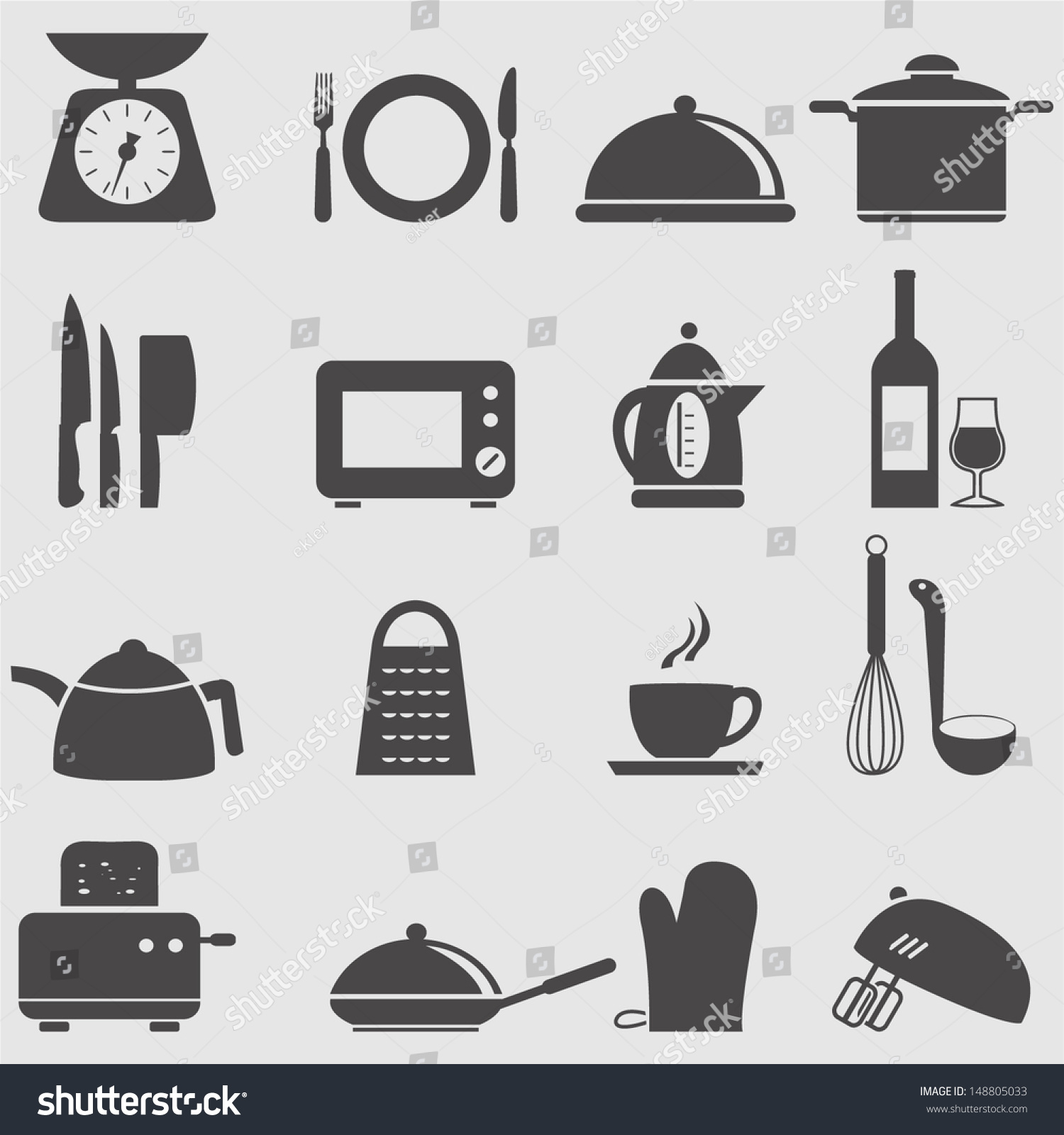 Kitchen and household utensil icons set vector 148805033 for Kitchen set vector
