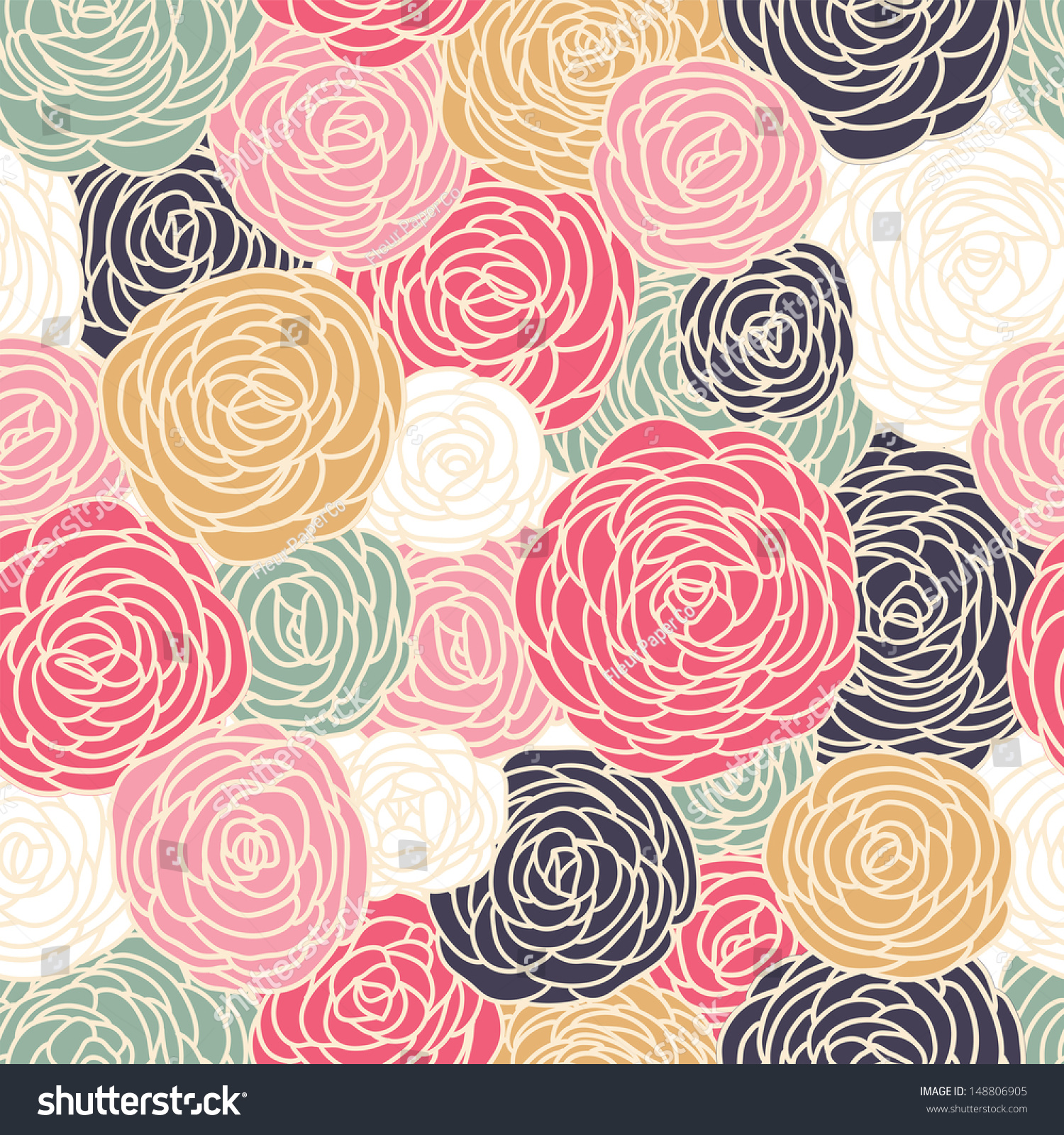 Vector Vintage Inspired Seamless Floral Pattern Stock ...