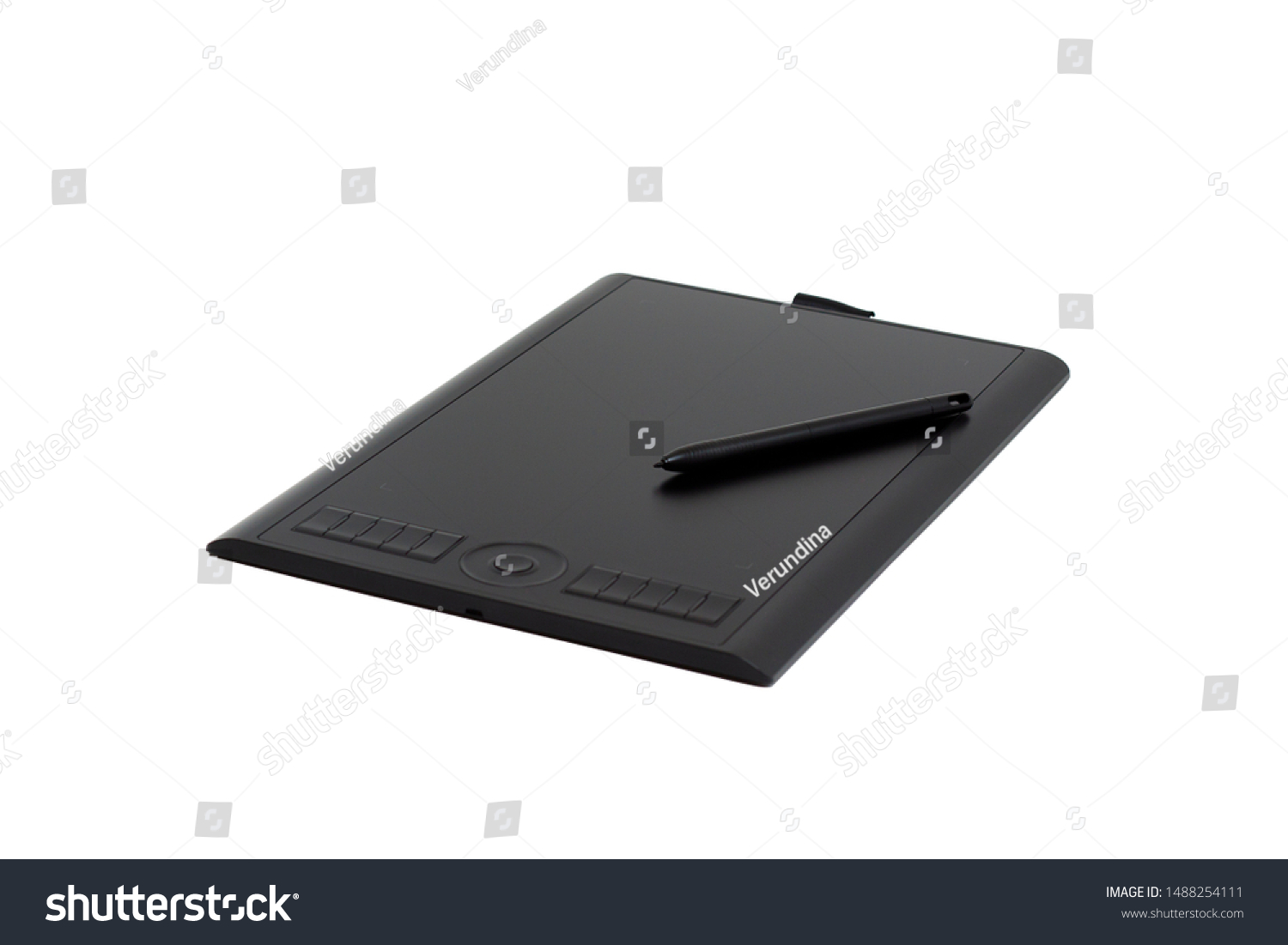 Black graphic tablet and pen for illustrators and designers isolated #1488254111