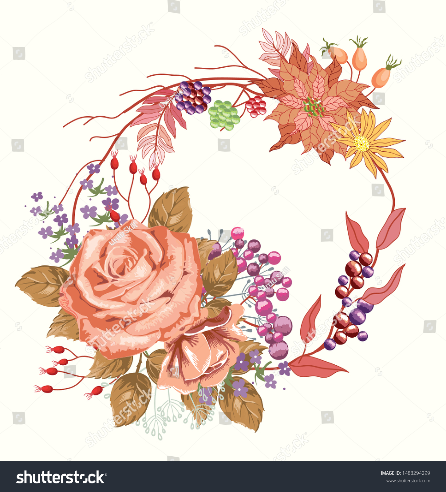 Beautiful Floral Composition Wedding Invitation Card Stock