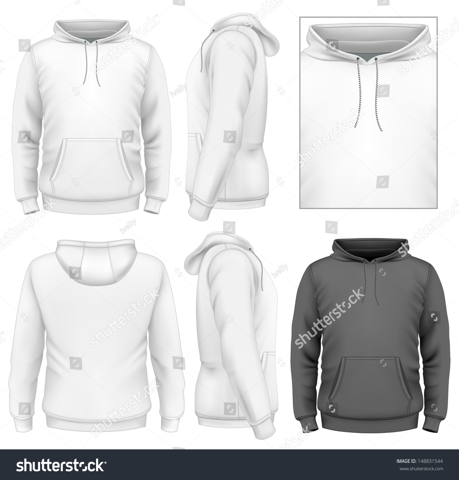 Shirt hoodie design - Photo Realistic Vector Illustration Men S Hoodie Design Template Front View Back And