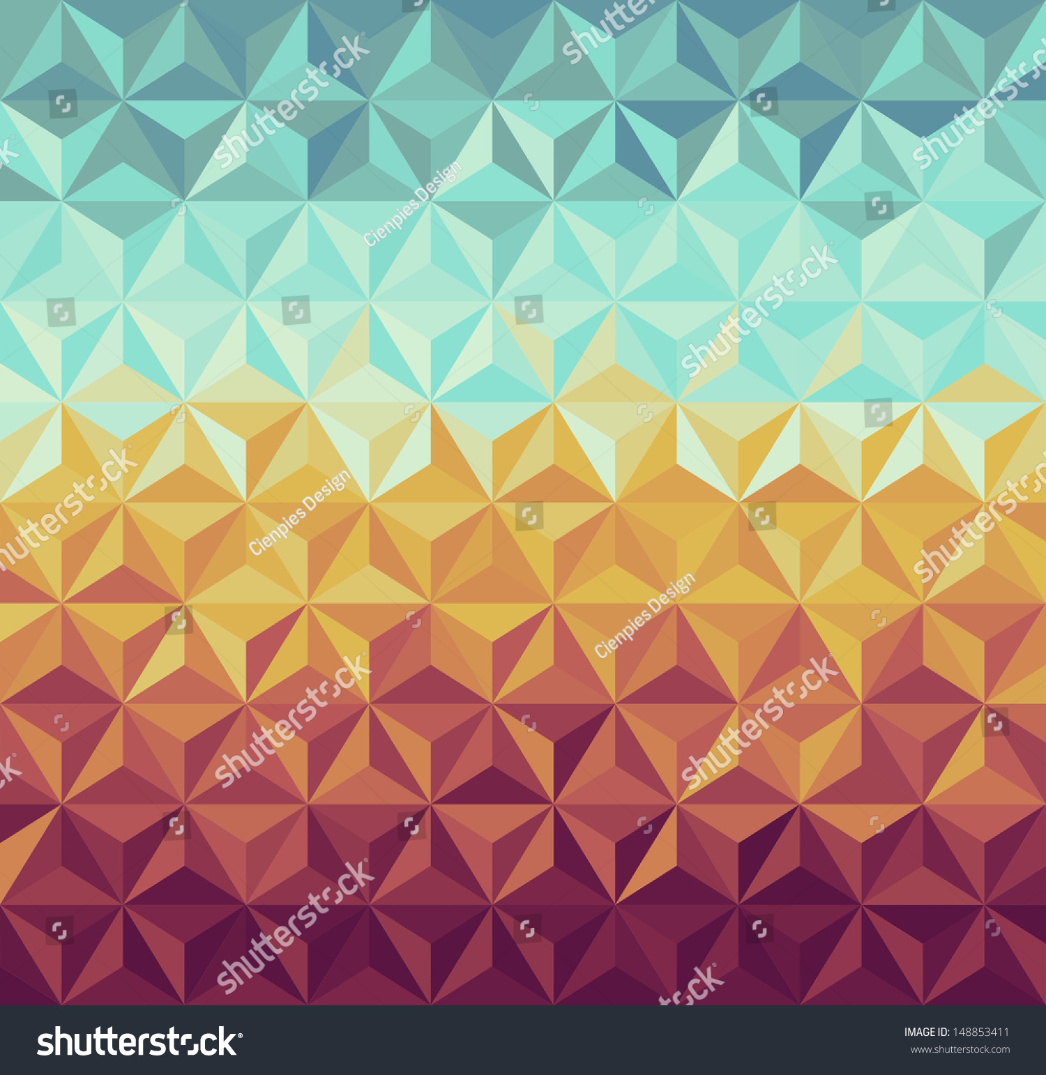 Colorful Vintage Hipsters Triangle Seamless Pattern Stock ...