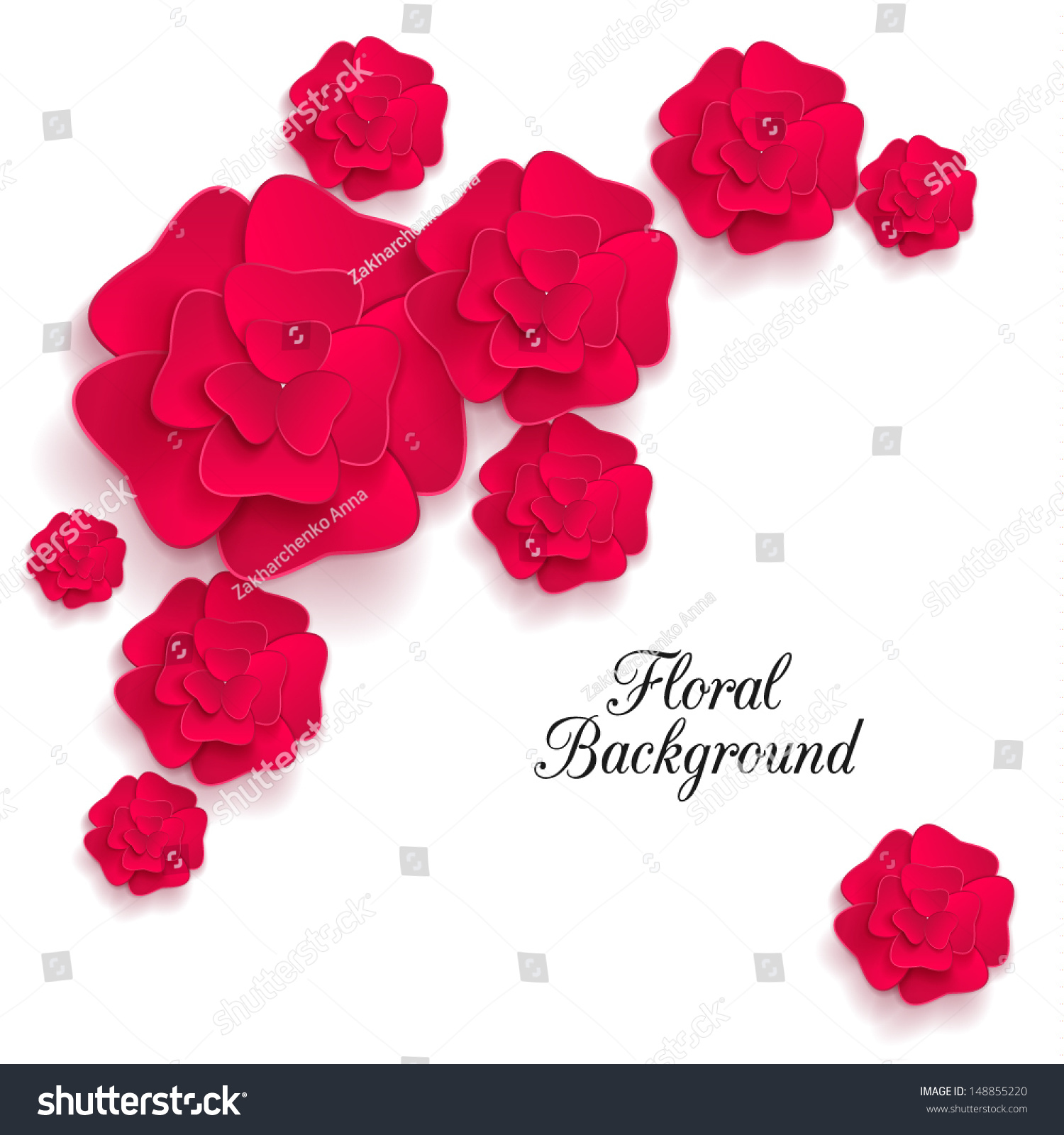 Romantic Background 3 D Red Paper Flowers Stock Vector Royalty Free