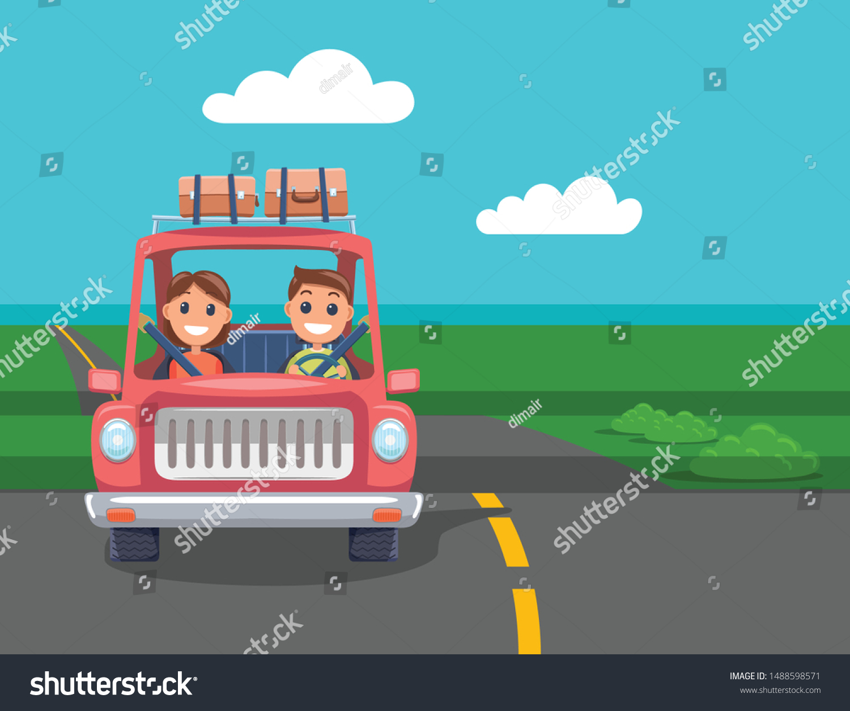 Family Car Travel Cartoon Flat Design Stock Vector Royalty Free 1488598571