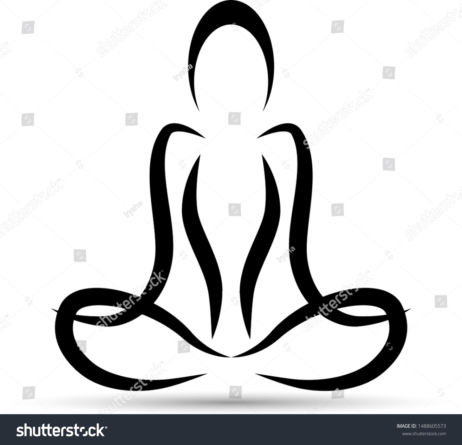 Yoga Lotus Position Vector Silhouette Yoga Stock Vector Royalty Free 1488605573