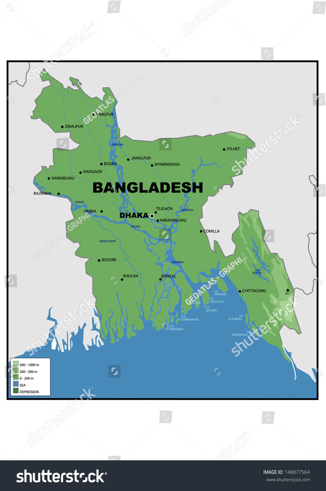 Physical Map Bangladesh Stock Illustration 148877564 Shutterstock