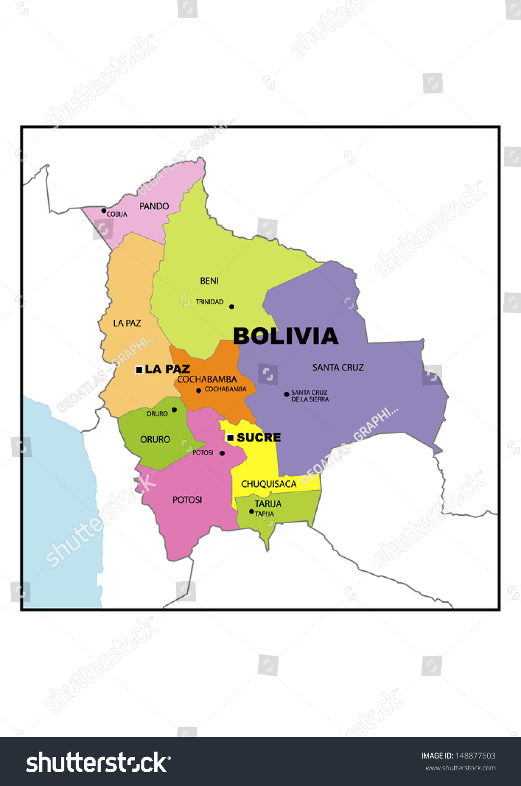 Administrative Map Bolivia Stock Illustration 148877603 Shutterstock