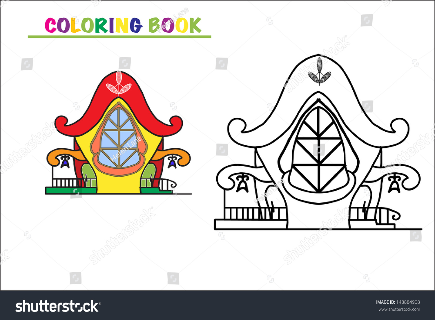 Coloring Book Page Cartoon Illustration Small Stock Vector