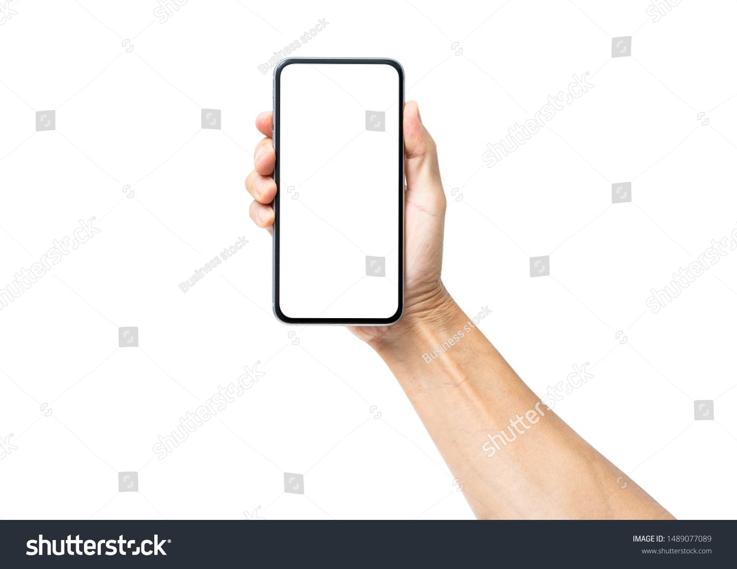 Man hand holding black smartphone isolated on white background, clipping path #1489077089