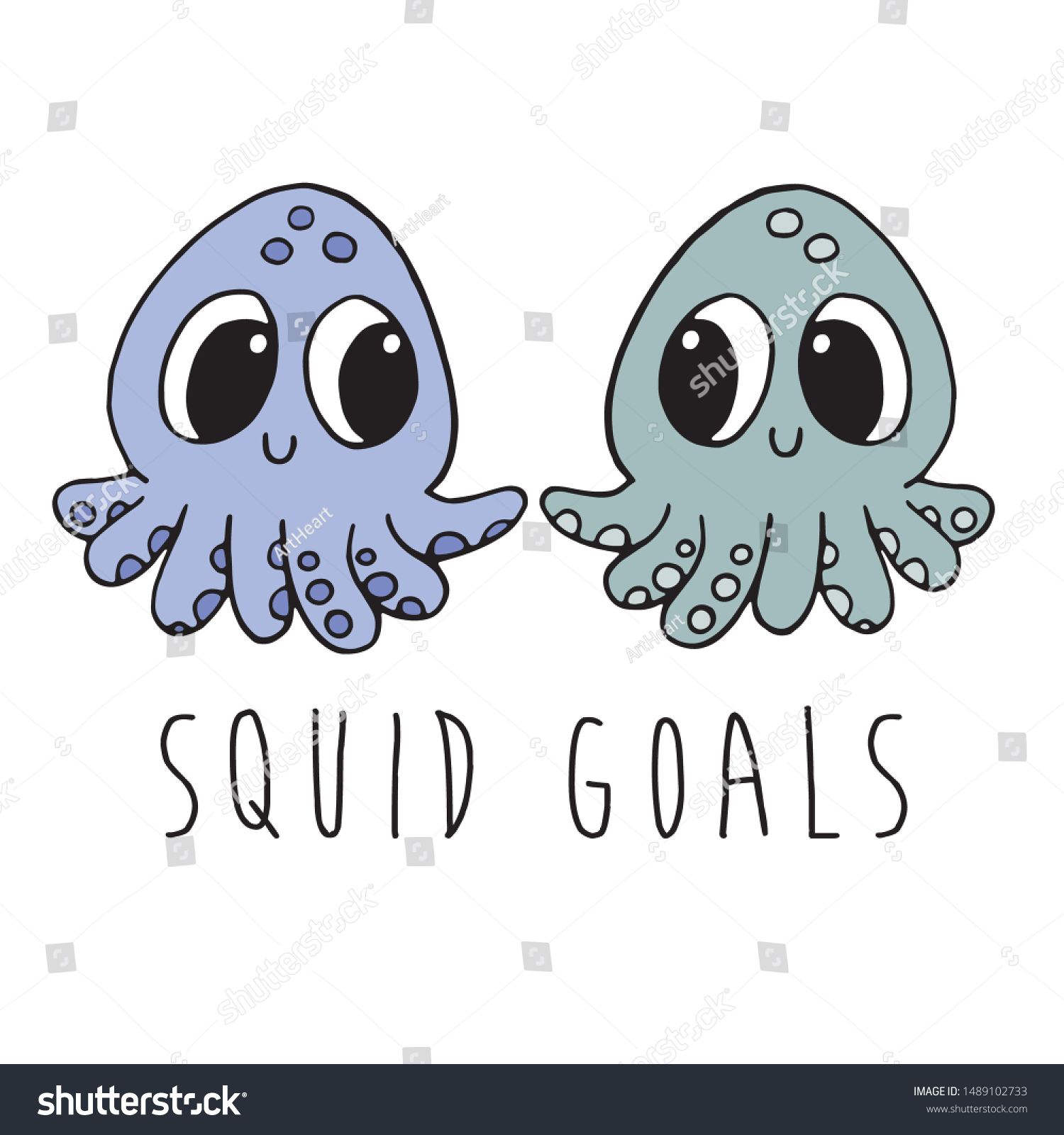 Two Cute Cartoon Baby Squids Who Stock Vector Royalty Free 1489102733