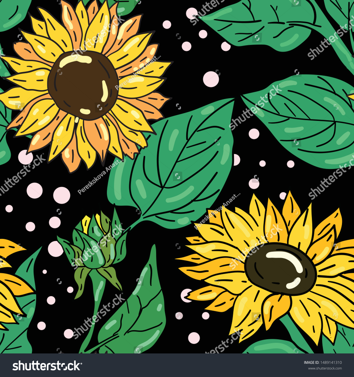 stock vector seamless vector pattern with sunflower and green fresh leaves on black background wallpaper 1489141310