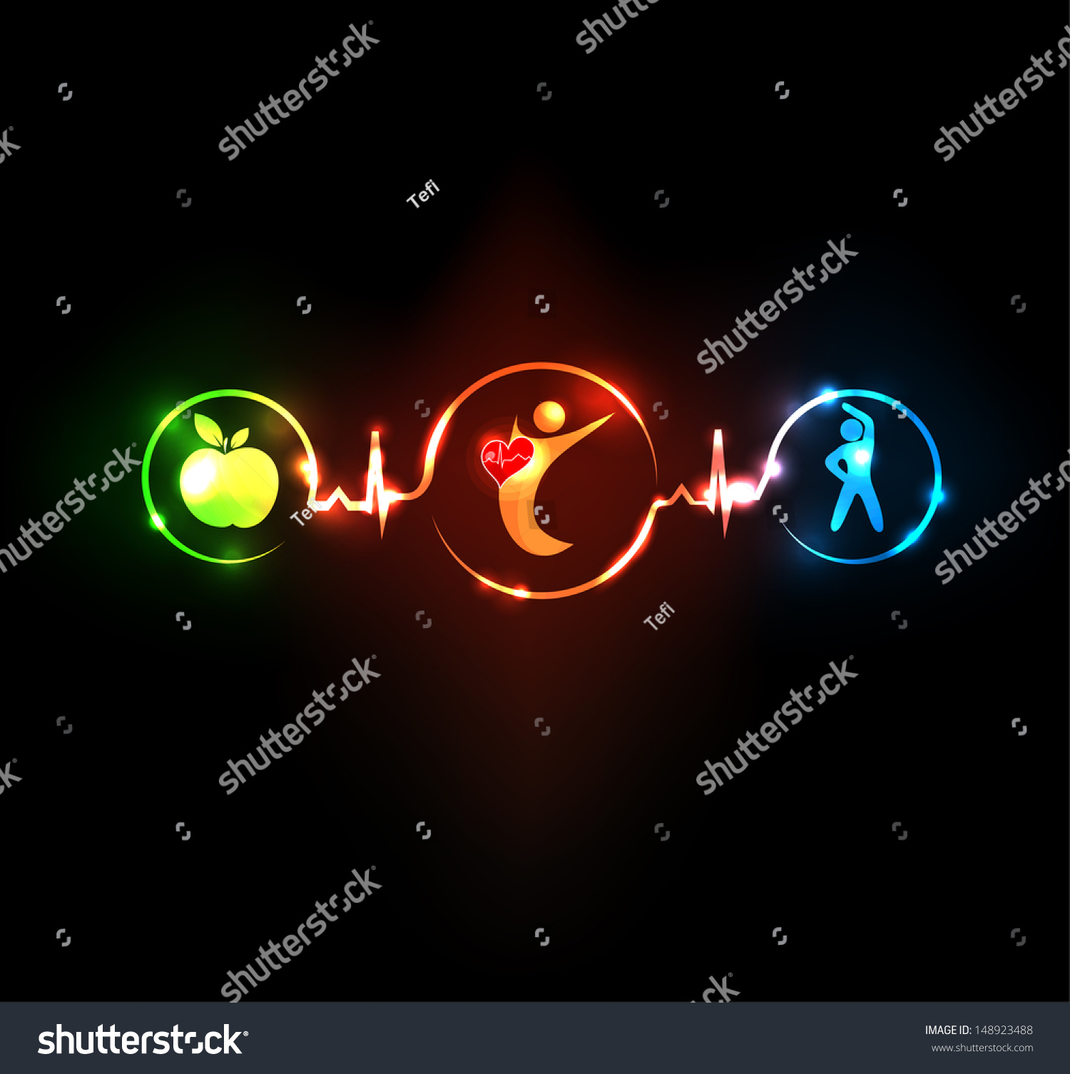 Wellness Illustration Healthy Food Fitness Leads Stock Vector