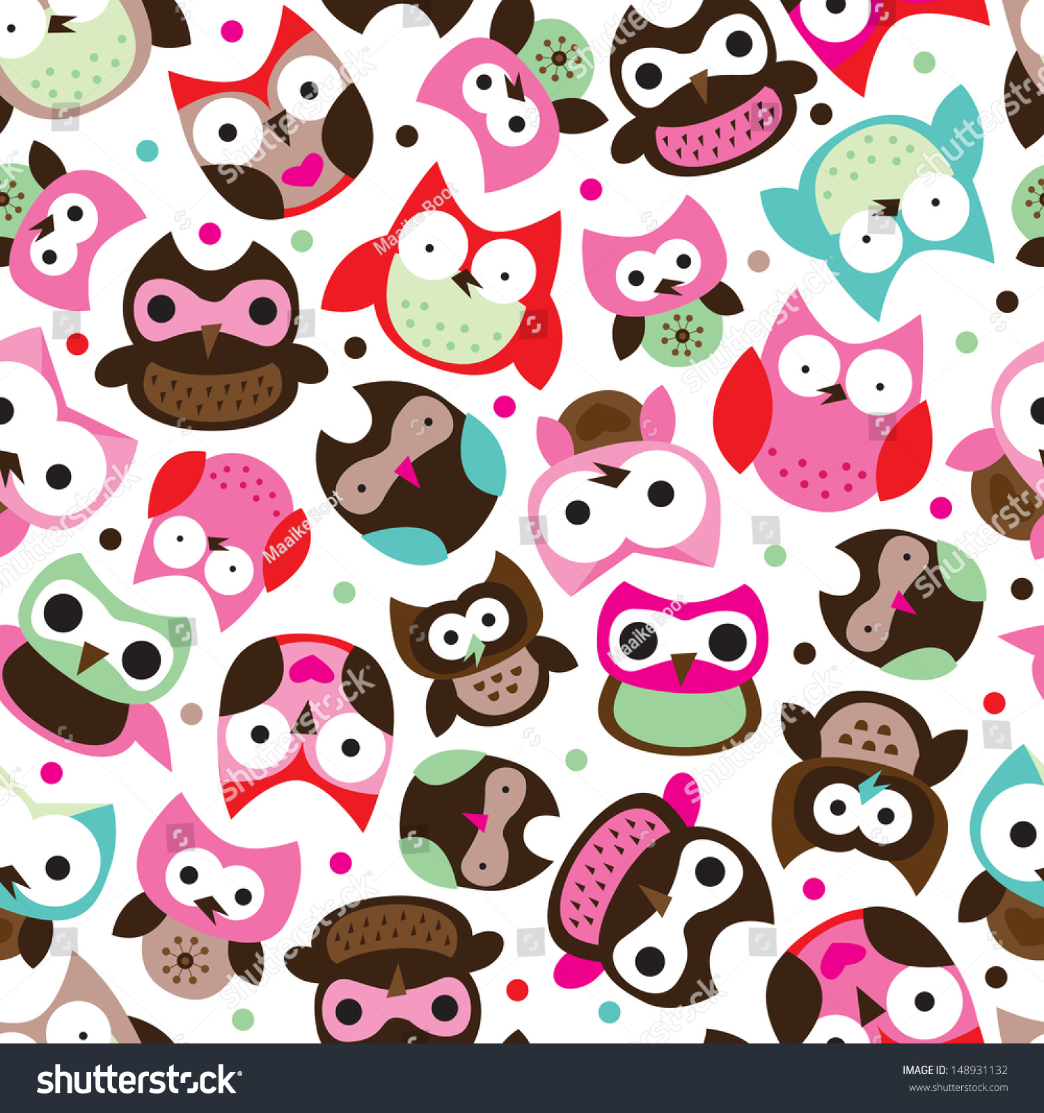 Free Owl Wallpapers: Seamless Colorful Pink Blue Owl Background Stock Vector