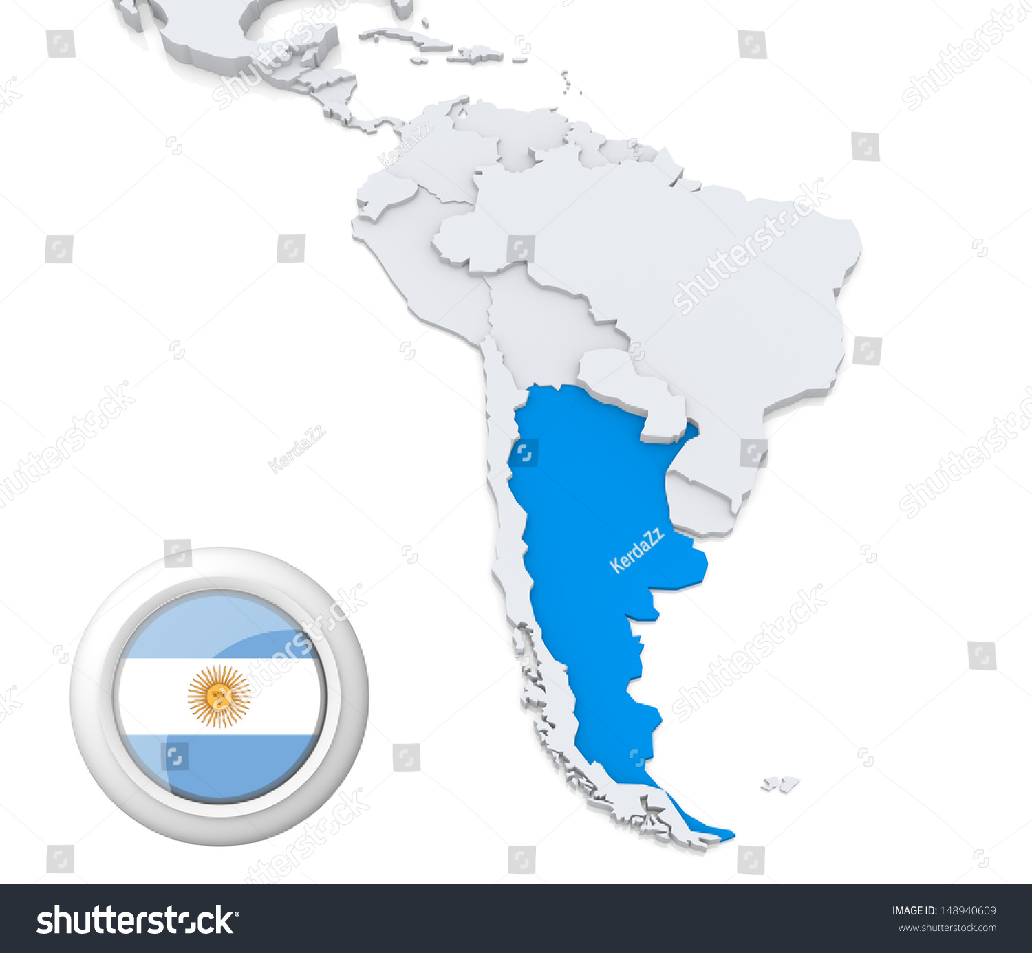 Highlighted Argentina On Map South America Stock Photo - South america argentina map