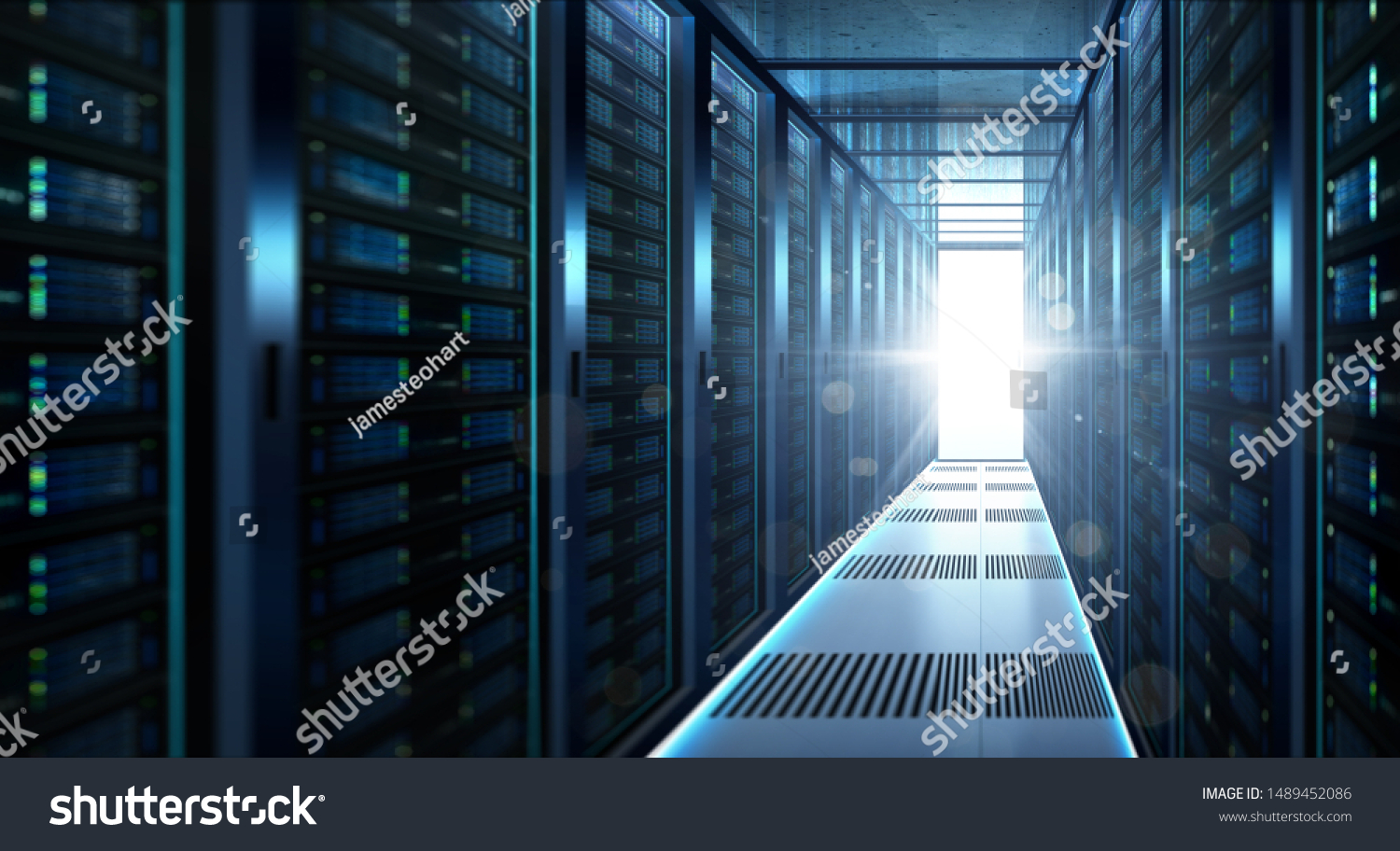 Big data center storage with full of rack servers and light flare effect  .Cloud server room 3D rendering . #1489452086