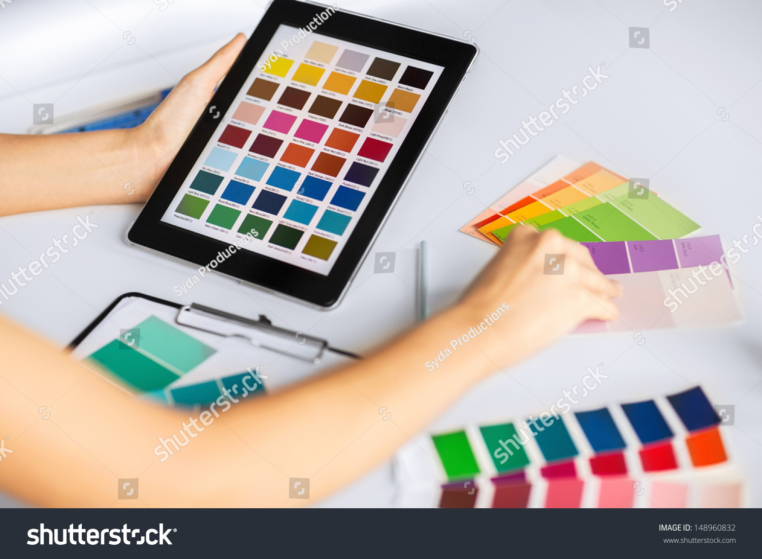 Interior Design Renovation And Technology Concept Woman Working With Color Samples For