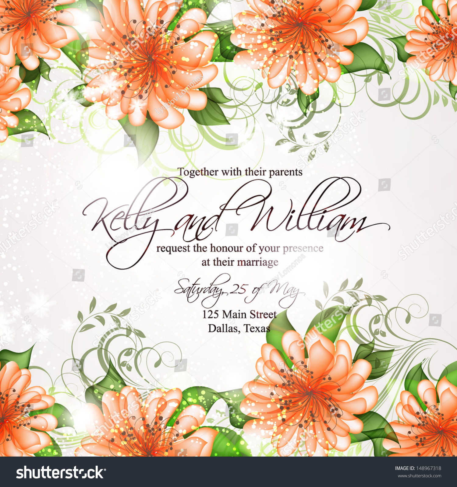 Wedding Invitation Card Abstract Floral Background Stock Vector