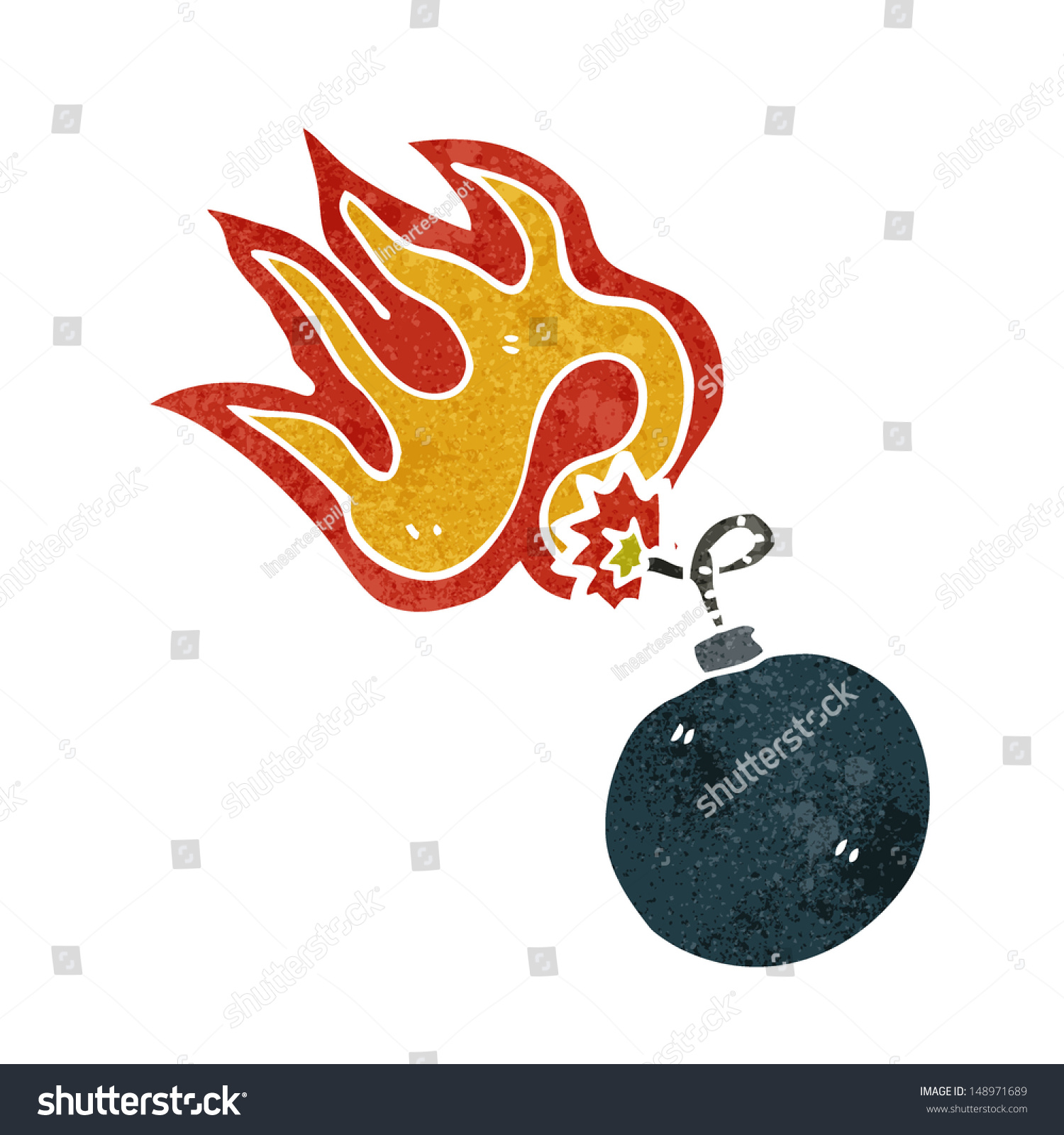 Retro Cartoon Bomb Symbol Burning Fuse Stock Illustration 148971689