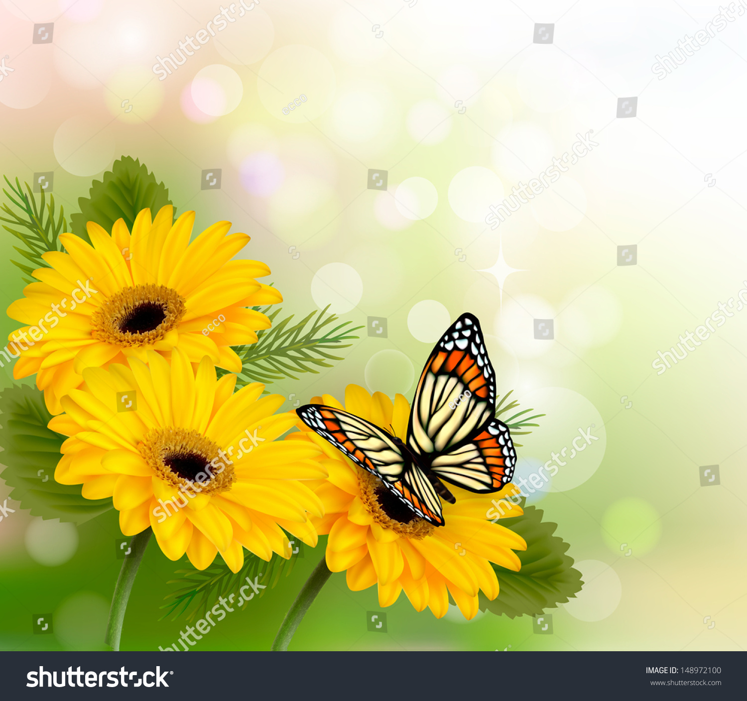 Nature Background Yellow Beautiful Flowers Butterfly Stock