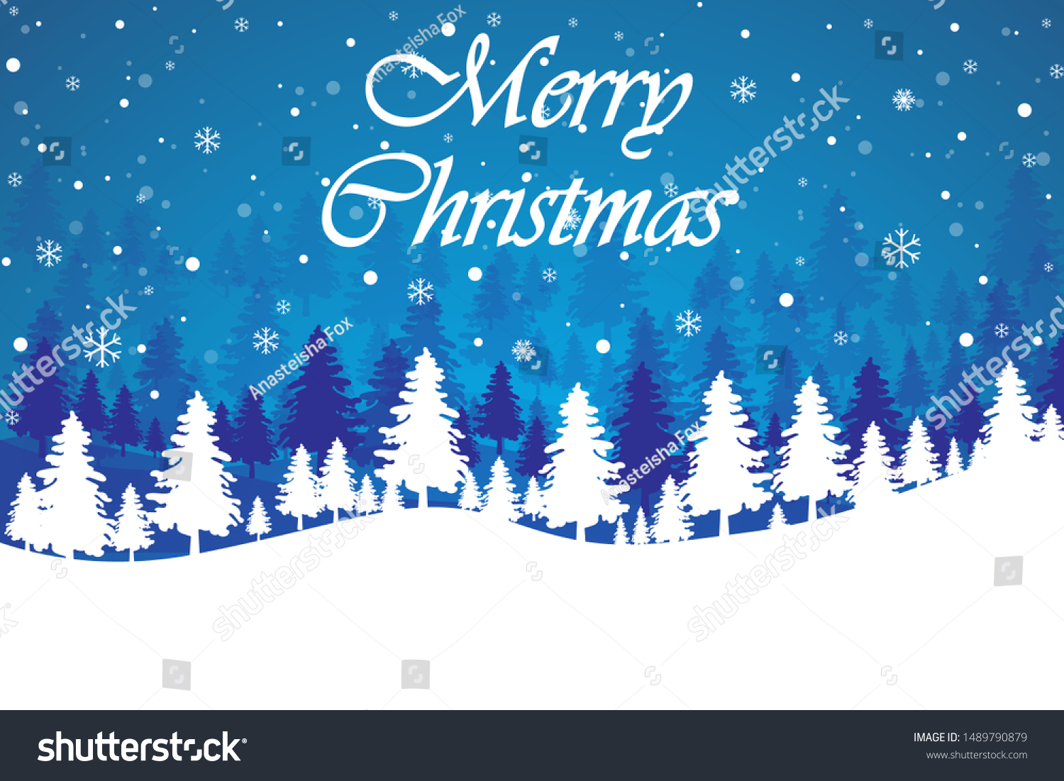 stock vector merry christmas landscape winter abstract blue background christmas tree snowflakes snow 1489790879