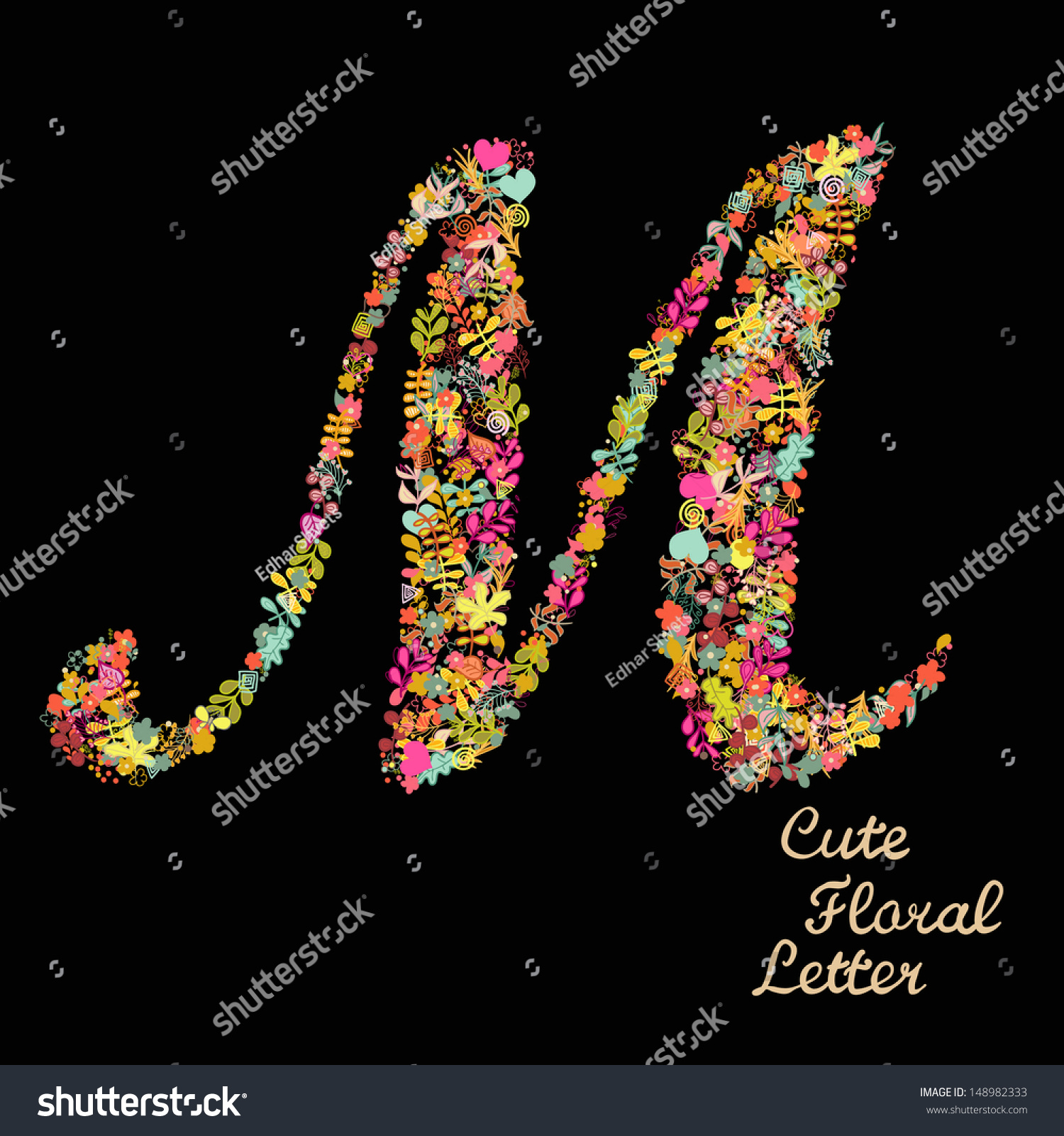 royalty-free the letter m. bright floral element of… #148982333