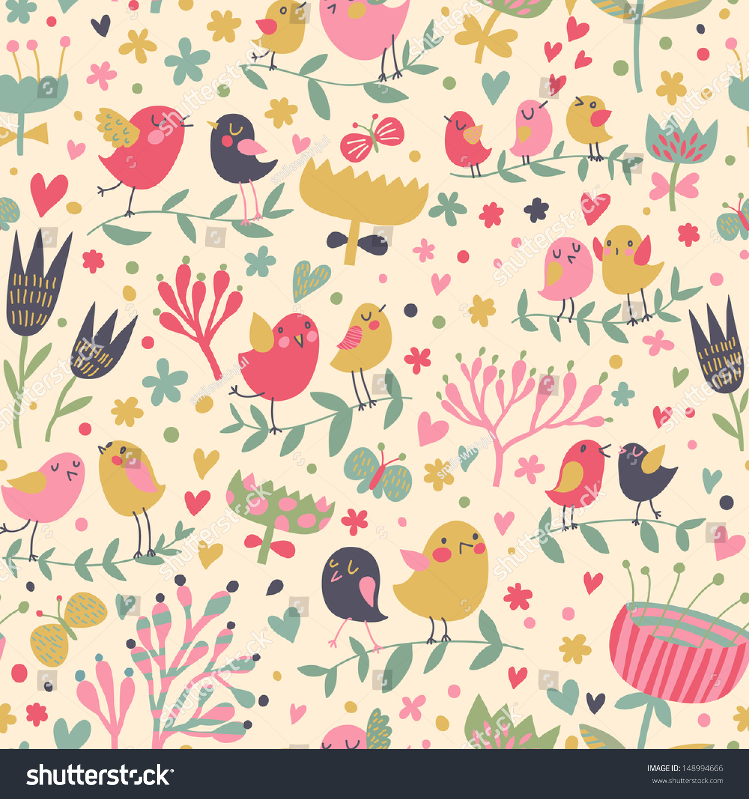 Romantic vector seamless background greeting card wallpaper vector art - Bright Floral Romantic Seamless Pattern In Vector Seamless Pattern Can Be Used For Wallpapers