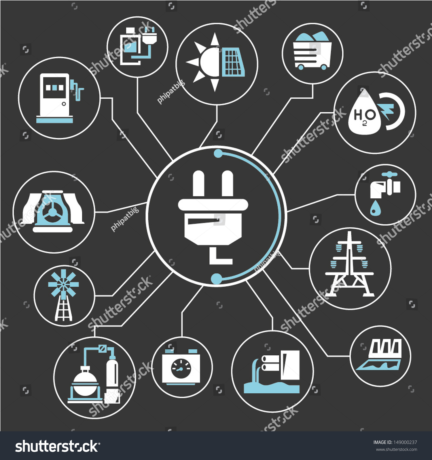 Energy Power Mind Mapping Info Graphic Stock Vector ...