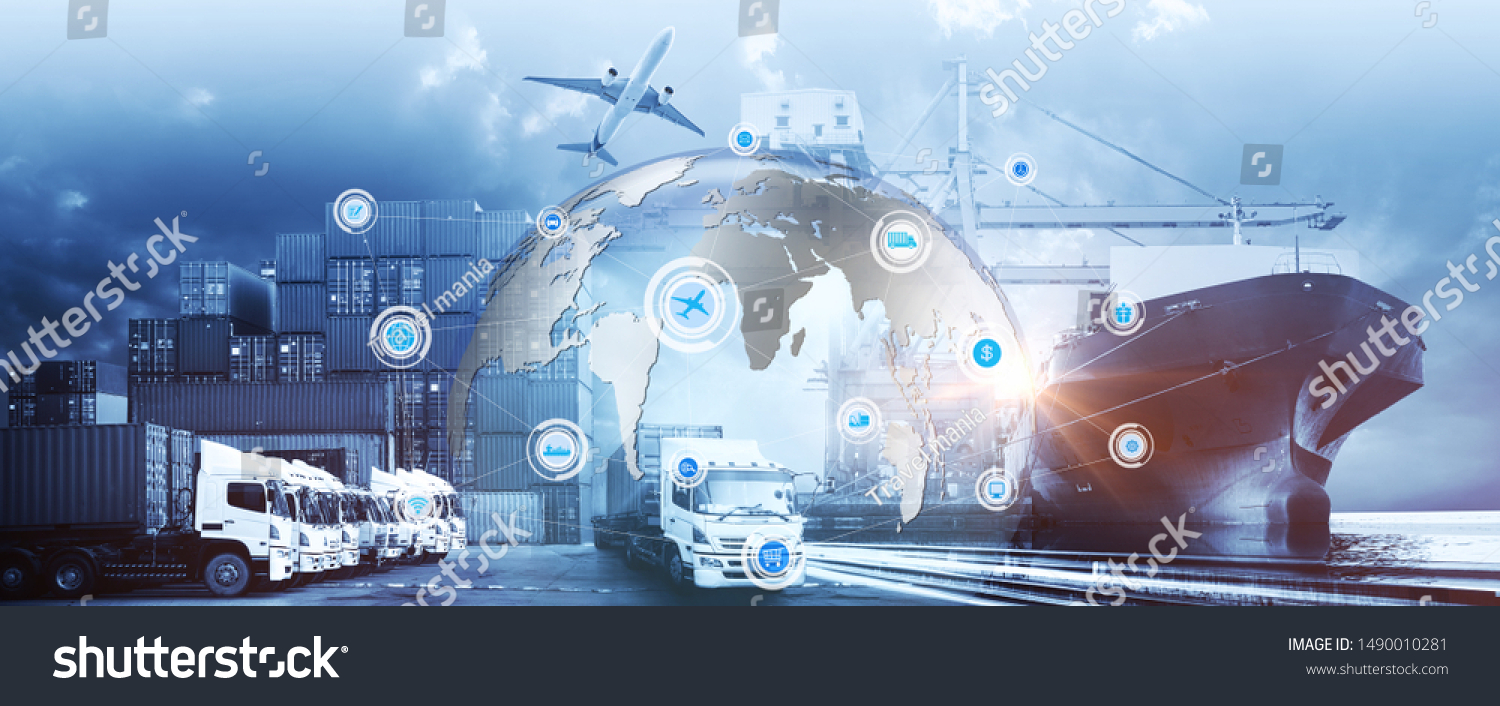 Smart technology concept with global logistics partnership Industrial Container Cargo freight ship, internet of things Concept of fast or instant shipping, Online goods orders worldwide #1490010281