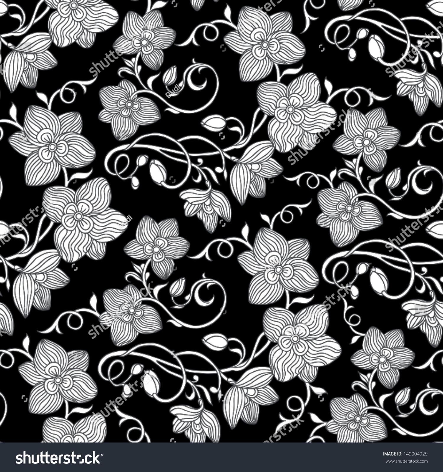 Vintage Black Floral Seamless Pattern On Dark Stock Vector ...   Black Floral Vintage Pattern