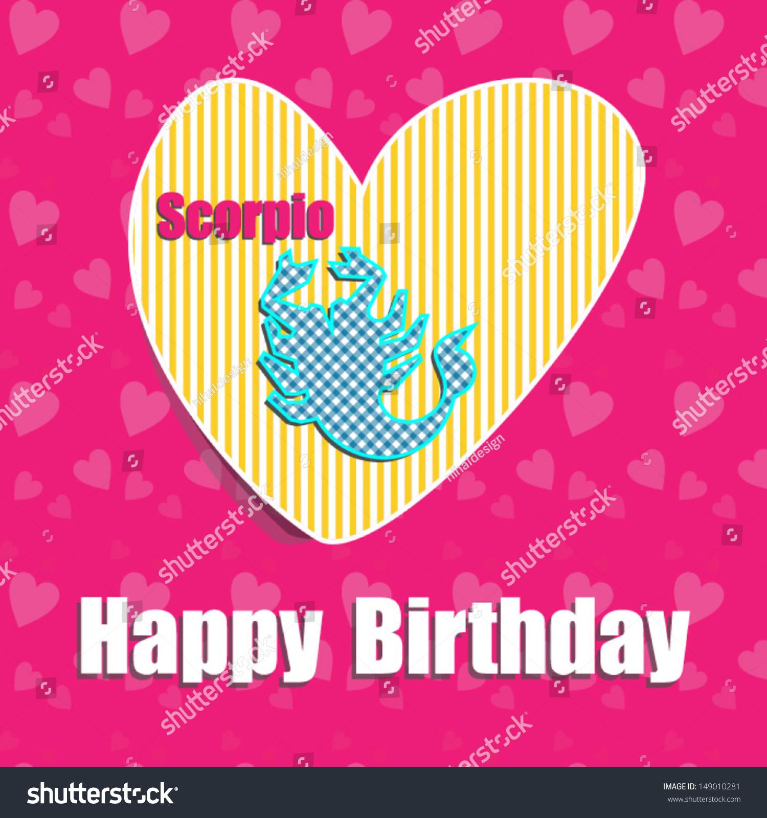 Birthday Card,Zodiac Signs,Scorpio , With Heart.Vector
